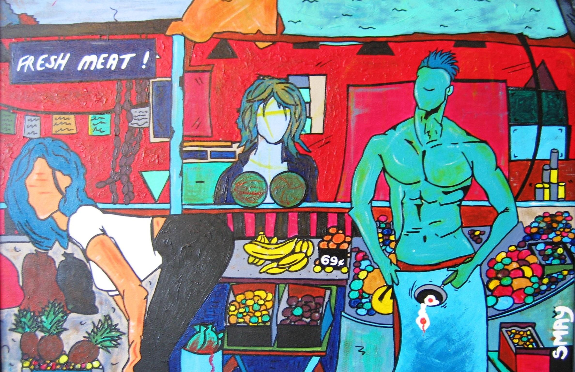 Meat Market  2005 Acrylics on canvas 64 x 44cm