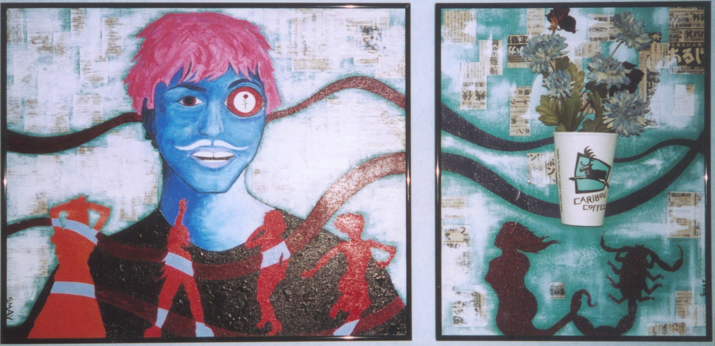 Nick  2003 Mixed media on canvas 106 x 51cm