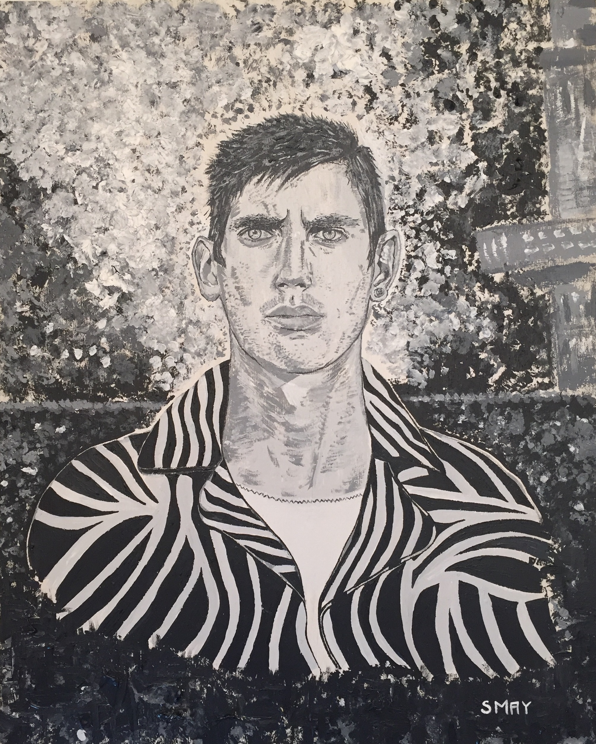 Black and white portrait  2016 Acrylics on wood