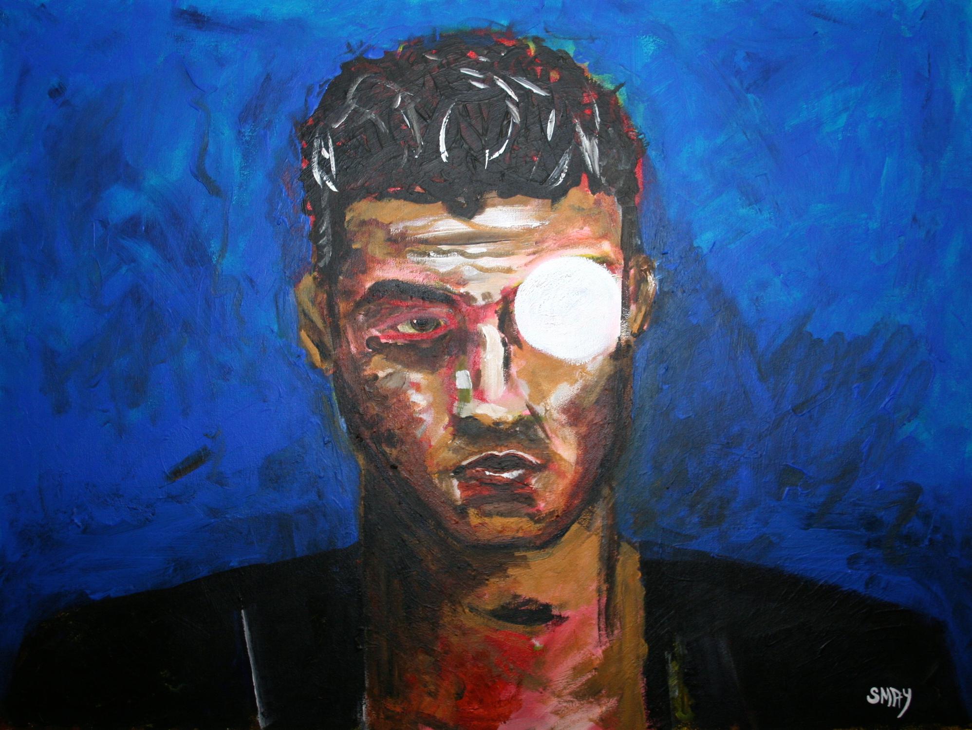 Cylinder Boy  2009 Mixed media on canvas 82 x 62cm