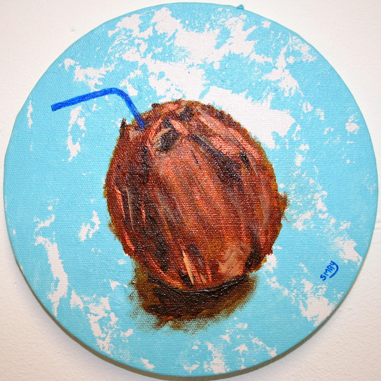 Enlighten me  2012 Acrylics on canvas 20cm diameter