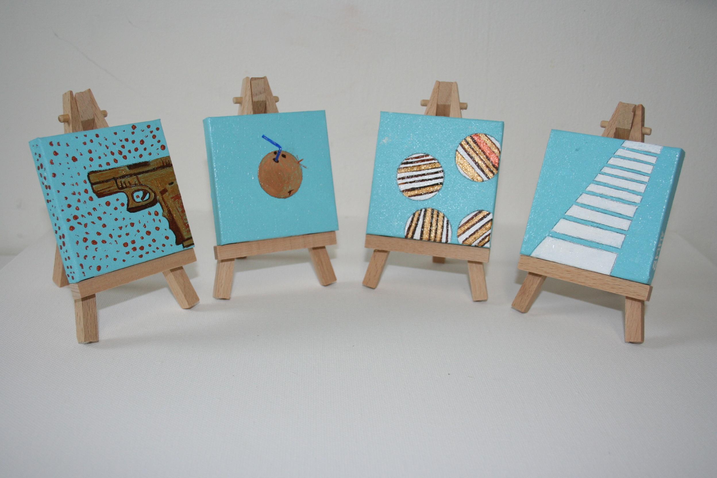 Blue coconut series (4)  2012 Acrylics on canvas 8 x 8cm each