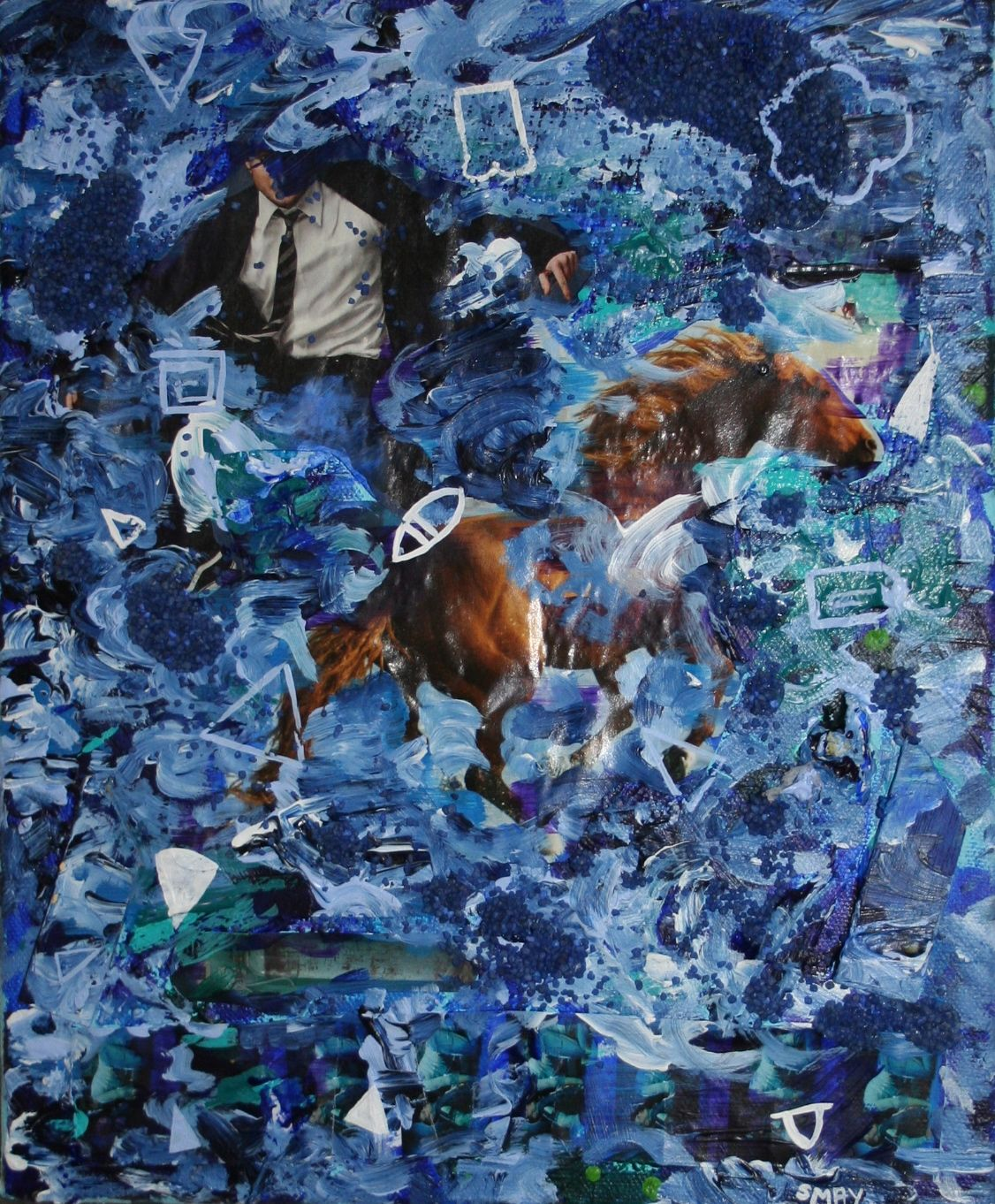 Blue triptych - Riding the waves  2012 Mixed media on canvas 25 x 30cm