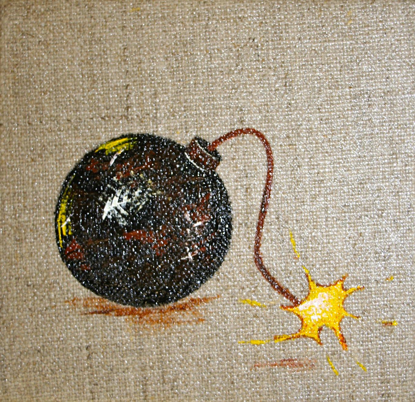 Canvas bomb  2012 Acrylics on canvas 10 x 10 x 4cm