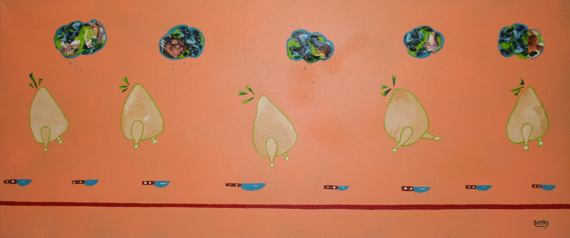 Chicken run  2012 Mixed media on canvas 70 x 30cm
