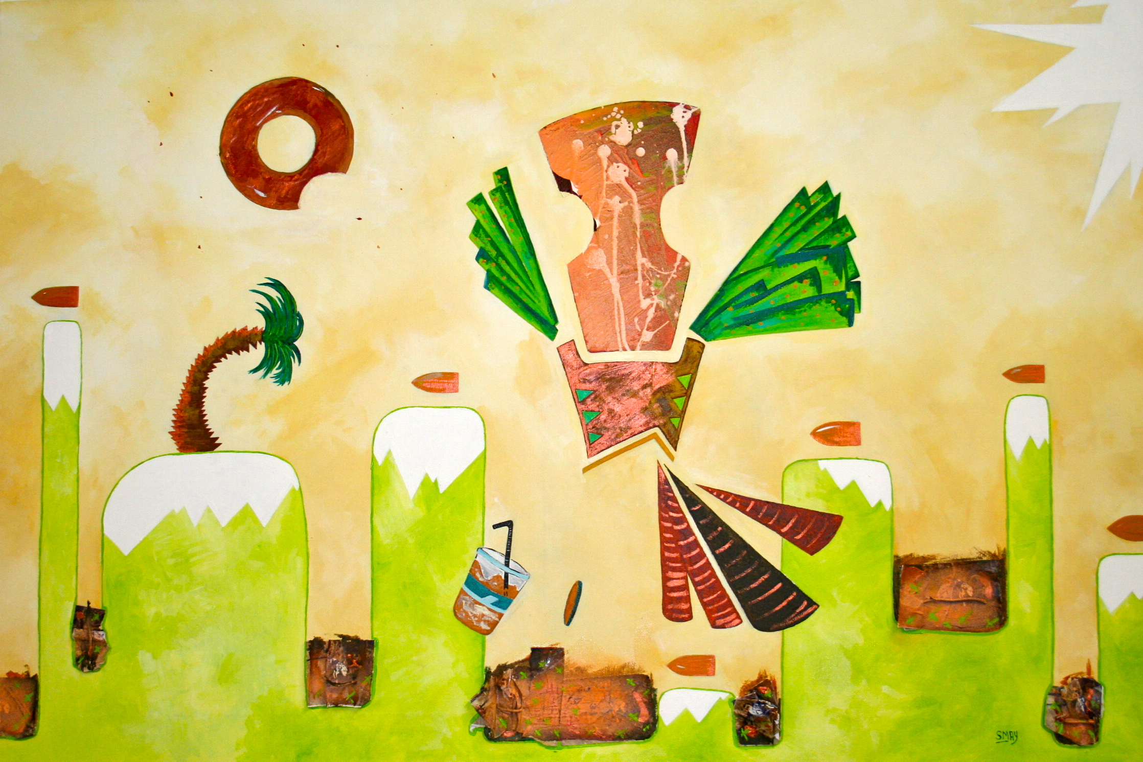 Eating Birds of Paradise  2011 Mixed media on canvas 92 x 60cm