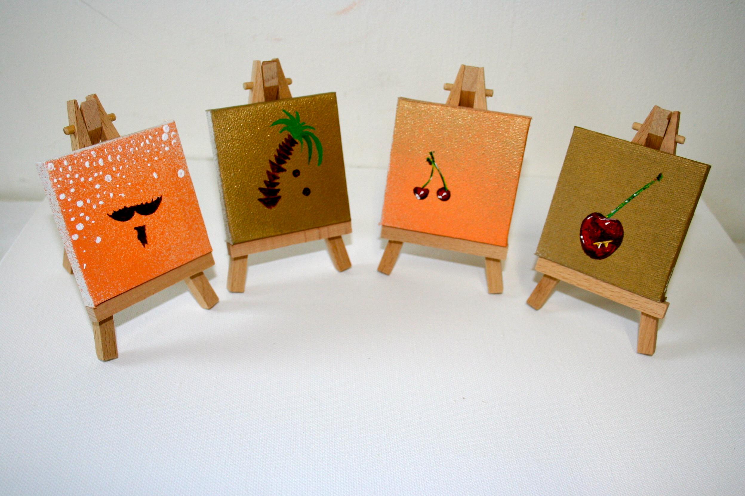 Gold/peach series (4)  2012 Mixed media on canvas 8 x 8cm each