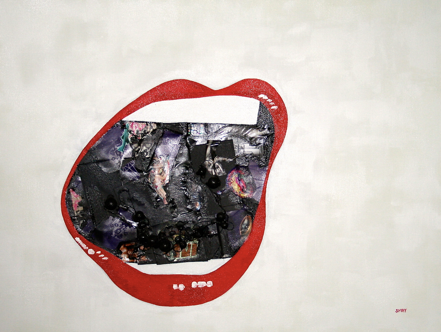 Kiss me, gag me (red)  2012 Mixed media on canvas   61 x 42cm
