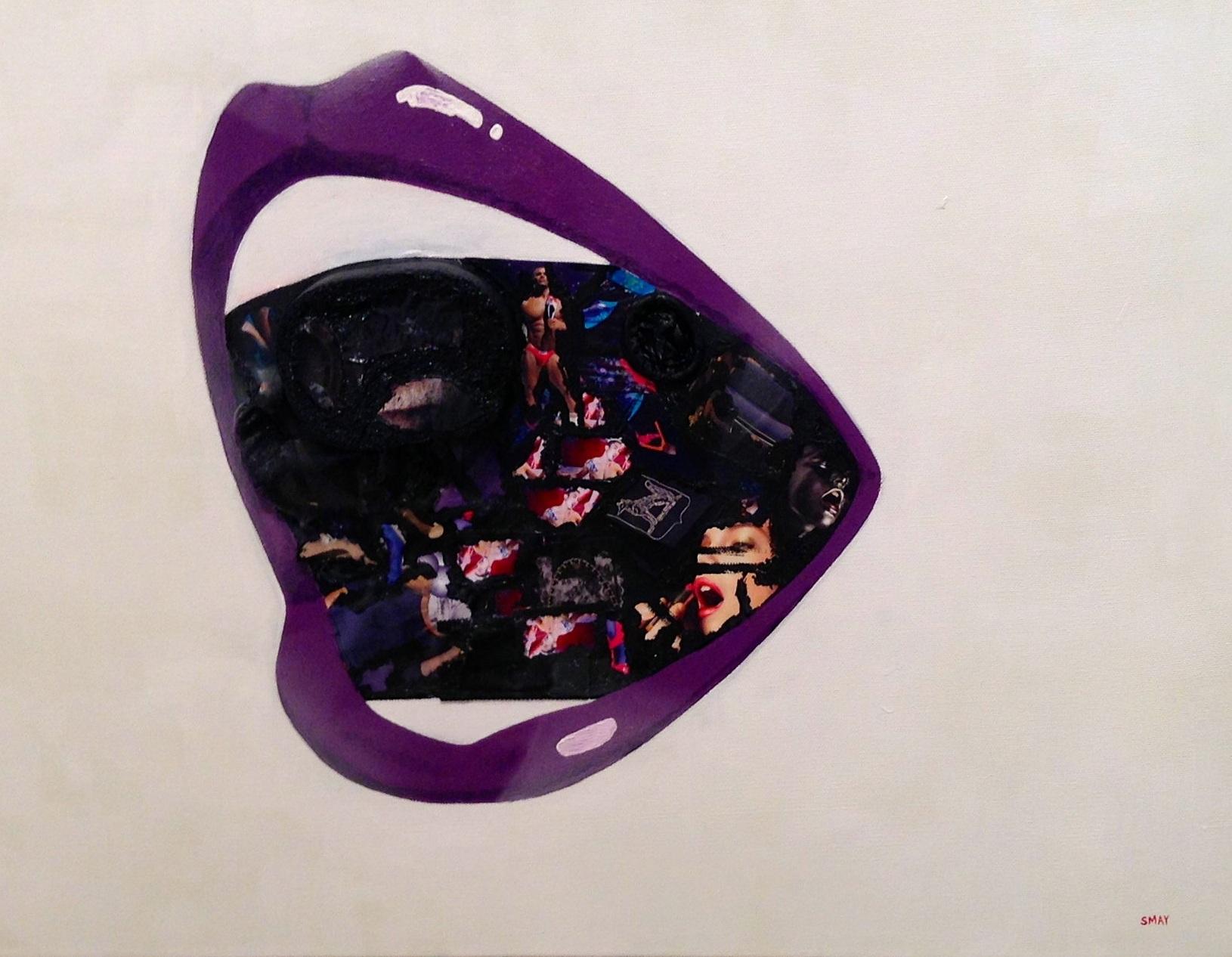 Kiss me, gag me (purple)  2012 Mixed media on canvas   61 x 42cm