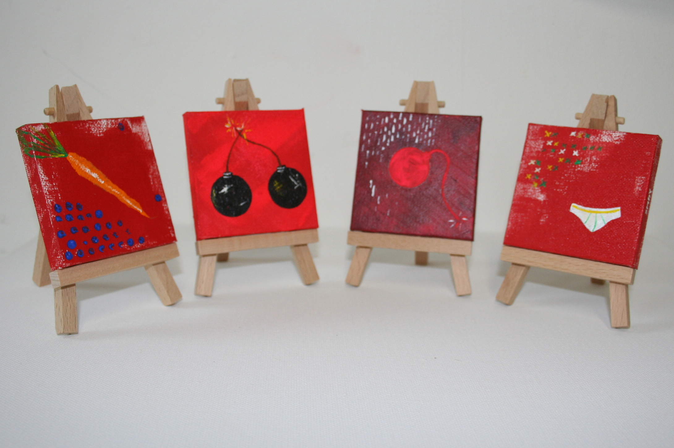 Red bomb series (4)  2012 Mixed media on canvas 8 x 8cm each