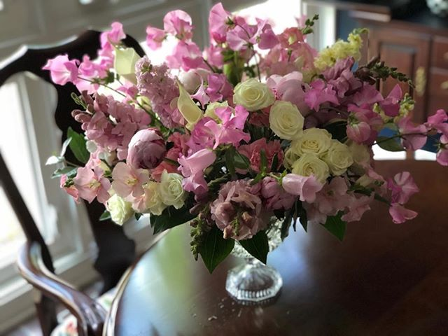 For a 50th wedding anniversary today, what a beautiful thing to celebrate. Sweet peas are particularly special for this family, so I used them abundantly. The fragrance is unbelievable. #bouquet #springbouquet #anniversaryflowers #lewisburgpa #sweetpea #peony