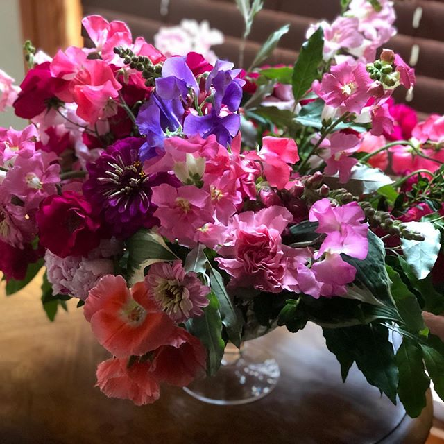 A colorful bouquet and heartfelt message is such a loving gesture. Even a birds nest tucked into the campanula where I was cutting. #loveflowers #sweetpea #colorfulbouquet #localflowers #paflowers #roses