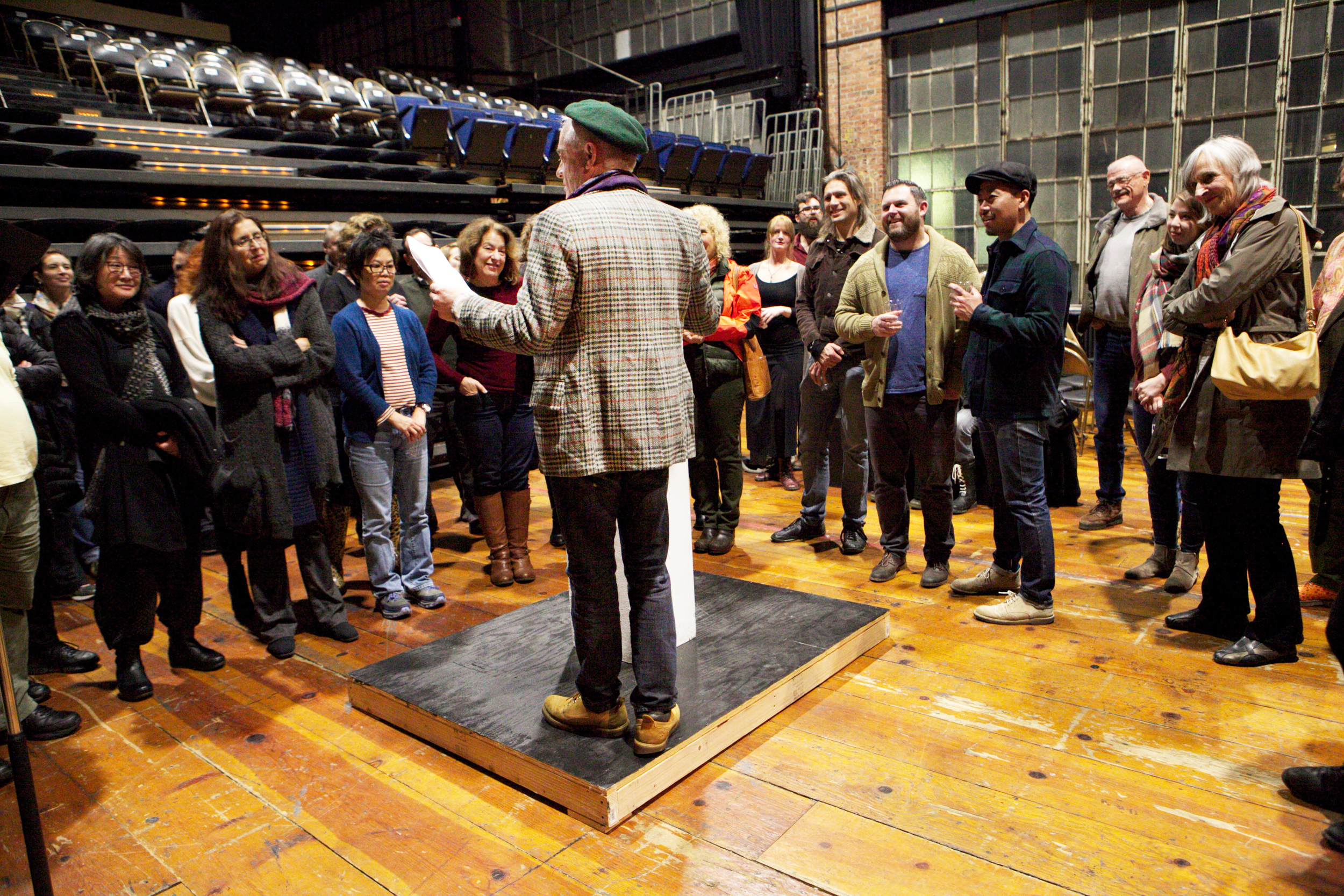 Z Insiders and Z donors participate in an open rehearsal of Peter Sinn Nachtrieb's  A House Tour. January 2016.