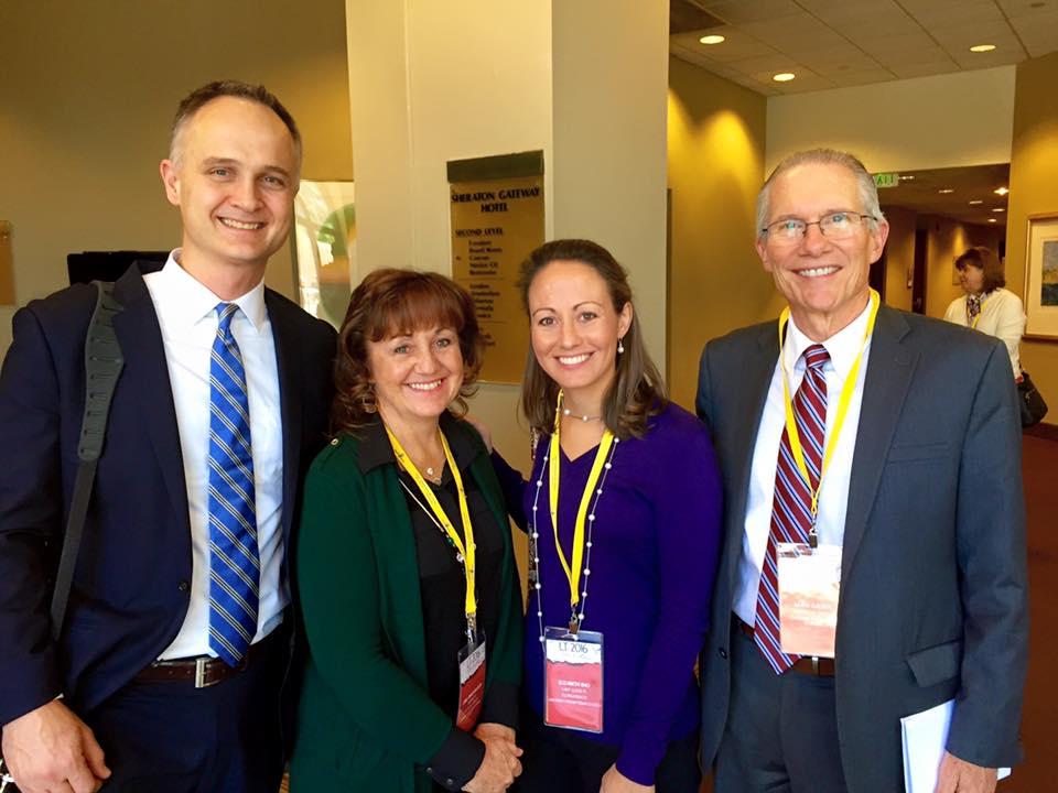 Dr. Derek Halvorson (President of Covenant College- left),Jane Anne Wilson (NE Regional Advisor), Elizabeth Eno and Dr. Mark Dalbey (President of Covenant Theological Seminary- right) at 2016 PCA Women's Leadership Training.