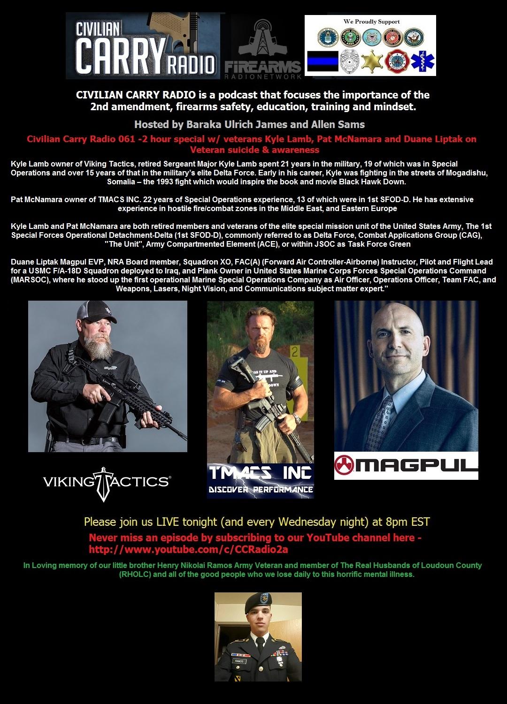Civilian Carry Radio 061 -2 hour special w veterans Kyle Lamb, Pat McNamara and Duane Liptak.jpg