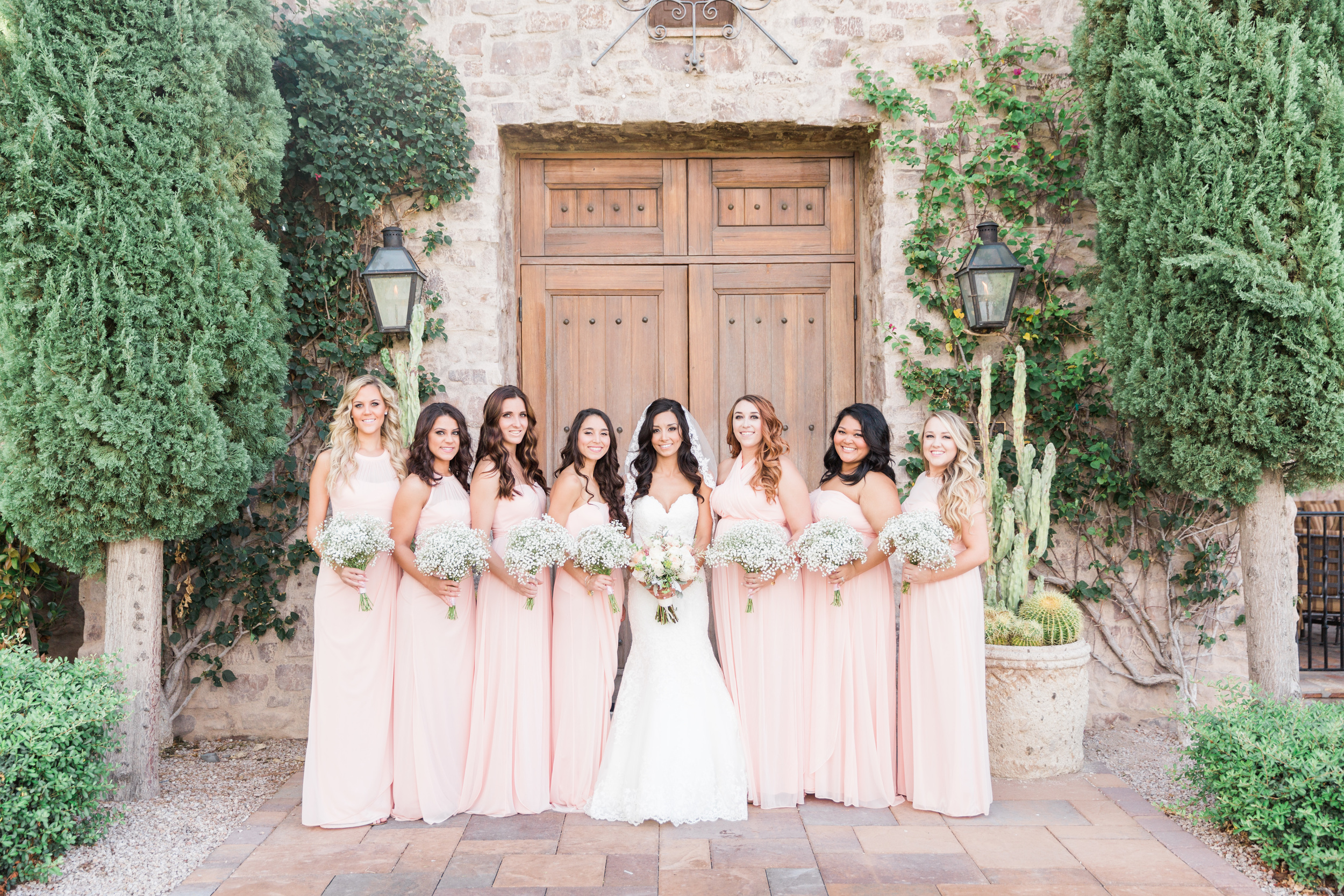 Bridesmaids in Blush | Superstition Mountain Golf Club Wedding | Phoenix Wedding Photographers | See more at BetsyandJohn.com