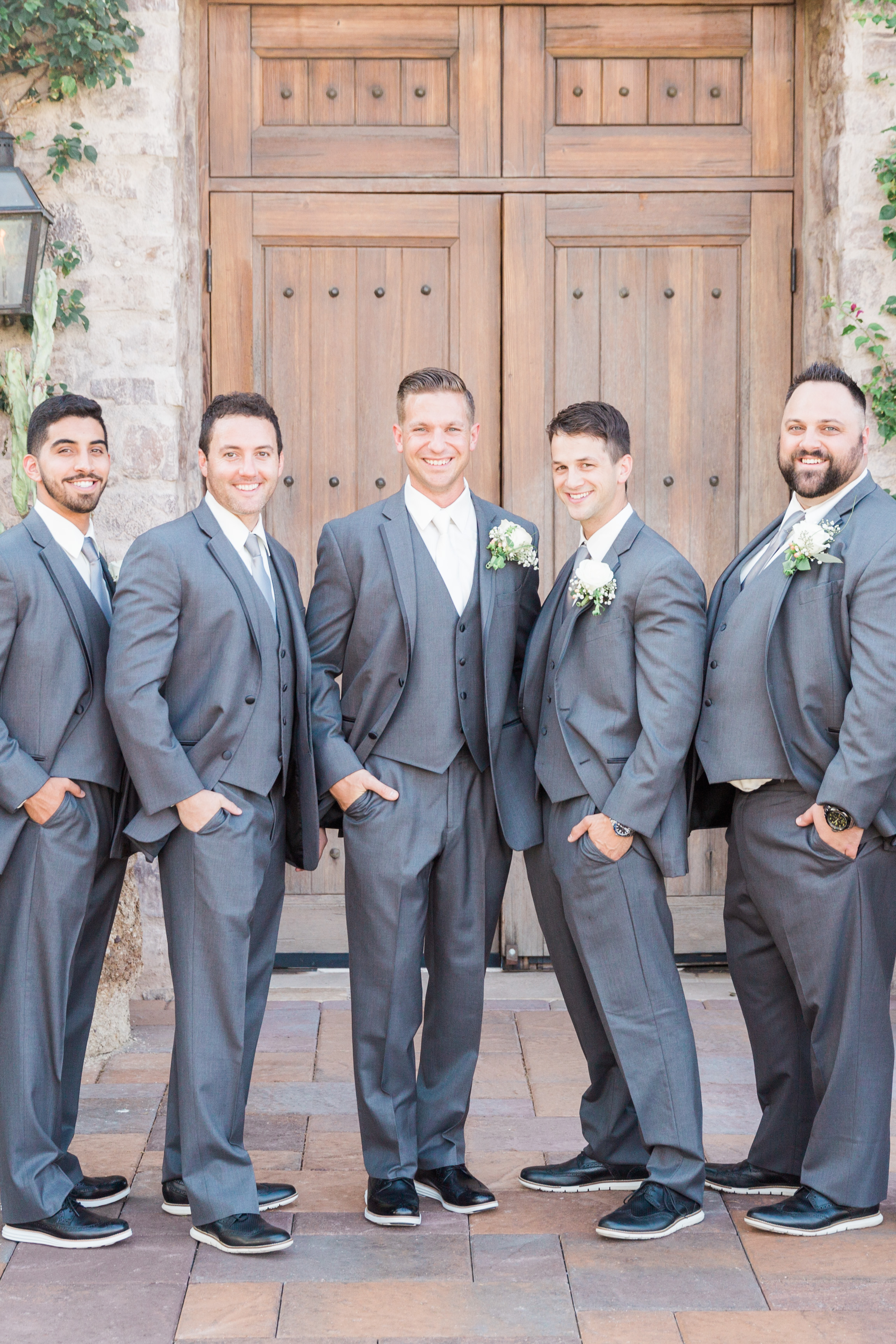 Groomsmen in gray | Superstition Mountain Golf Club Wedding | Phoenix Wedding Photographers | See more at BetsyandJohn.com