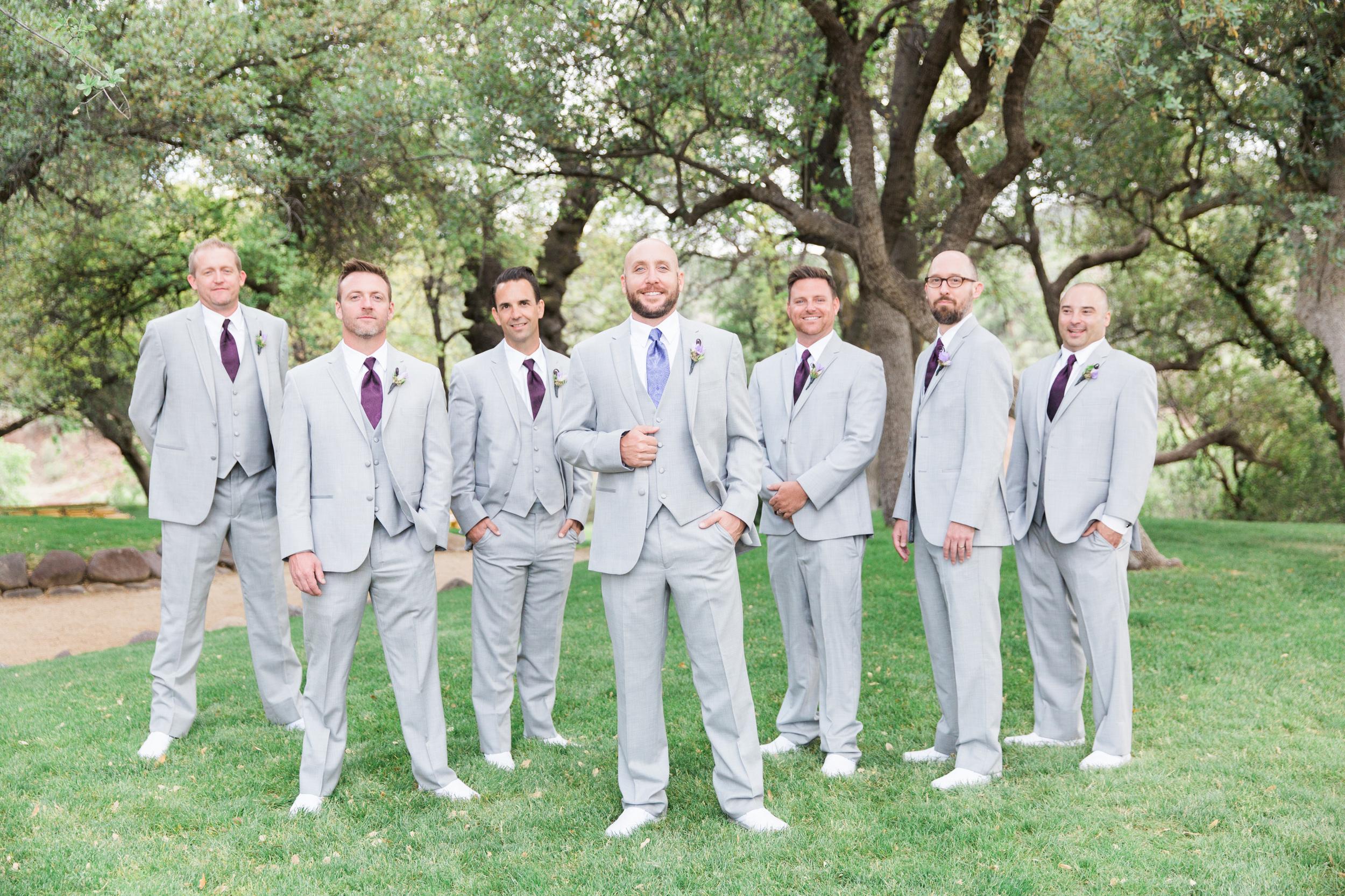 Groomsmen in light gray   Van Dickson Ranch Wedding   Prescott Wedding Photographers   See more at BetsyandJohn.com