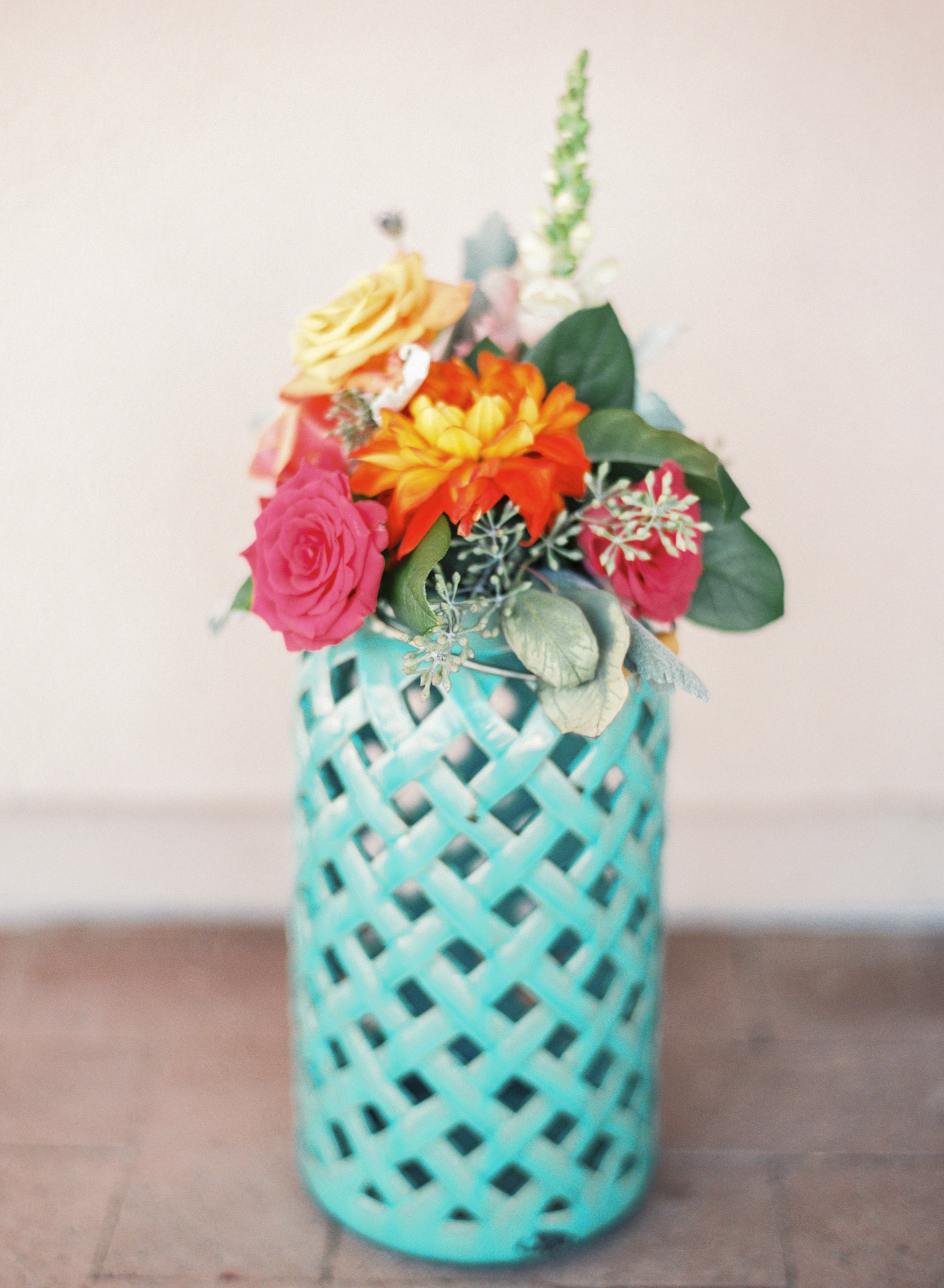 Bright and colorful wedding florals