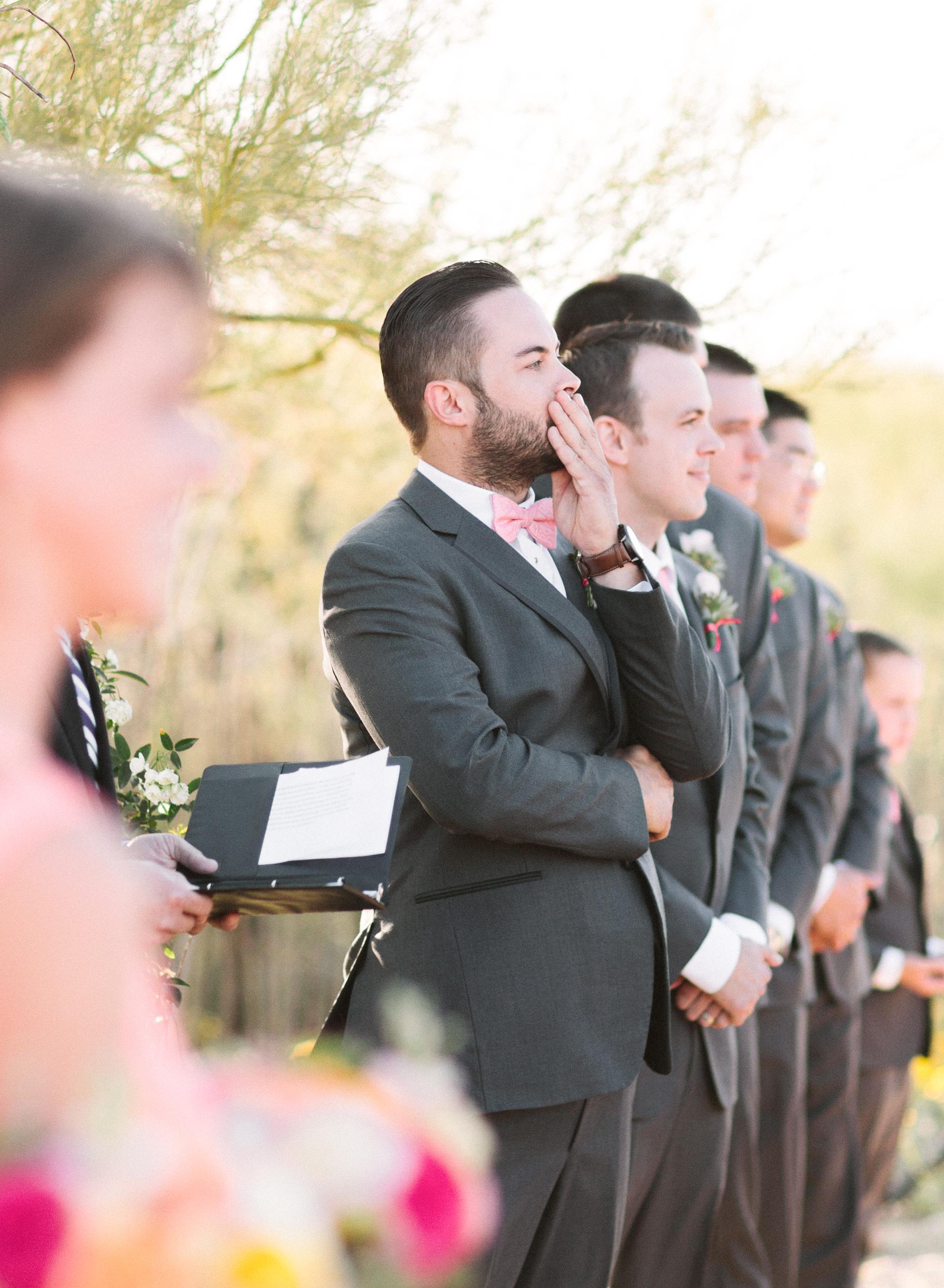 Groom's first look as his bride walks down the aisle