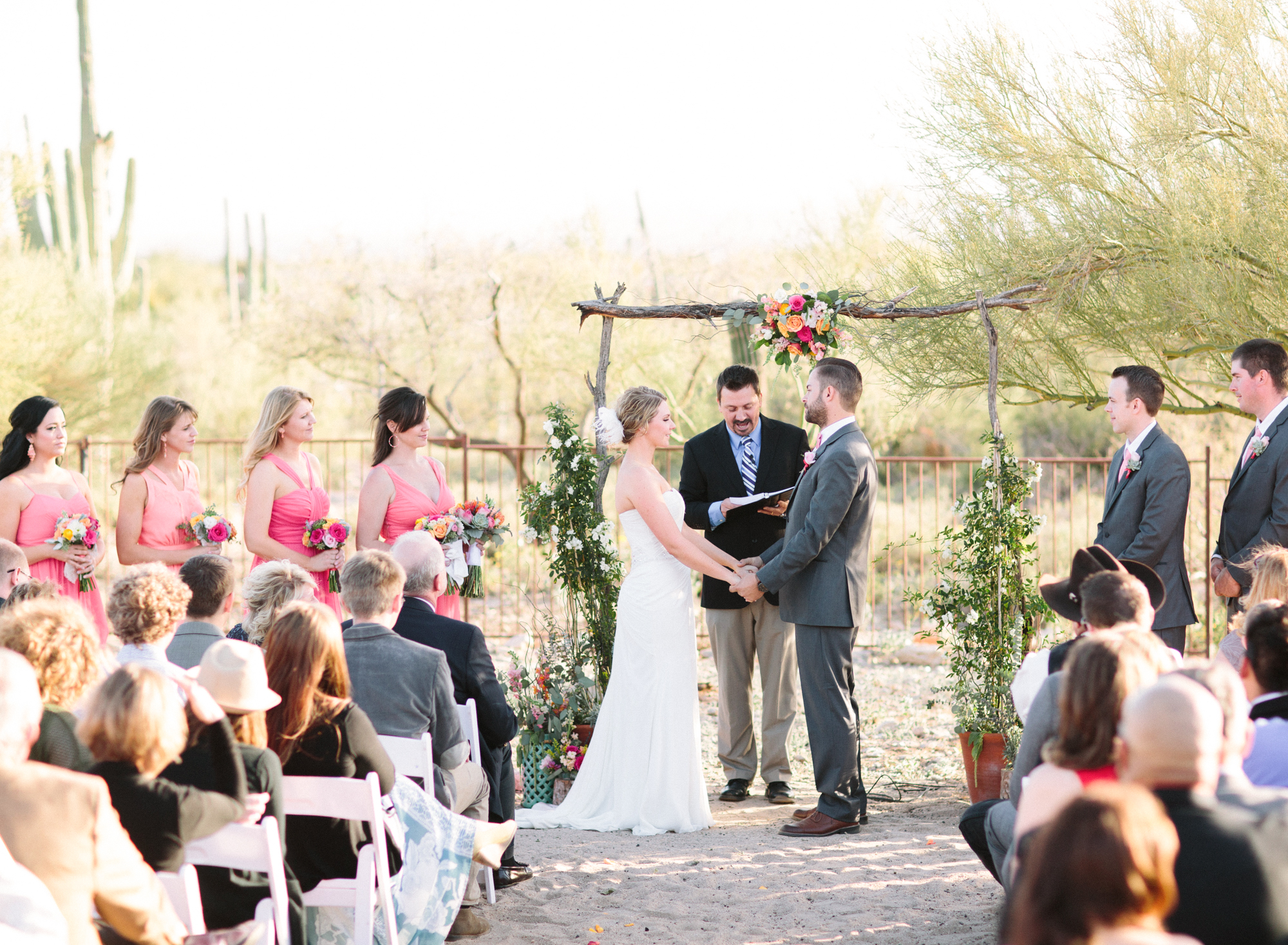 Desert wedding, bride and groom at the alter
