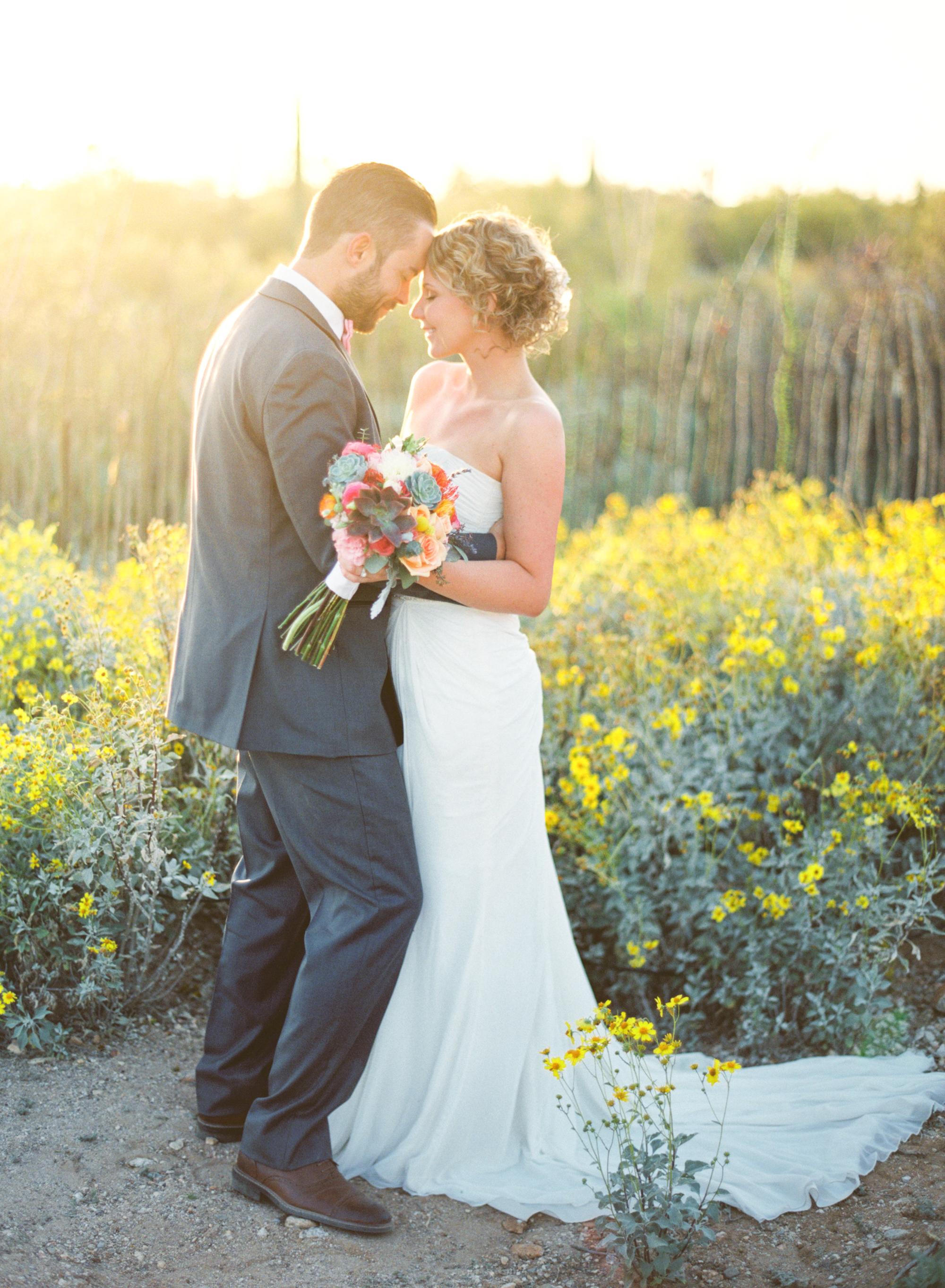 Tucson bride & groom portraits in Tucson wildflowers