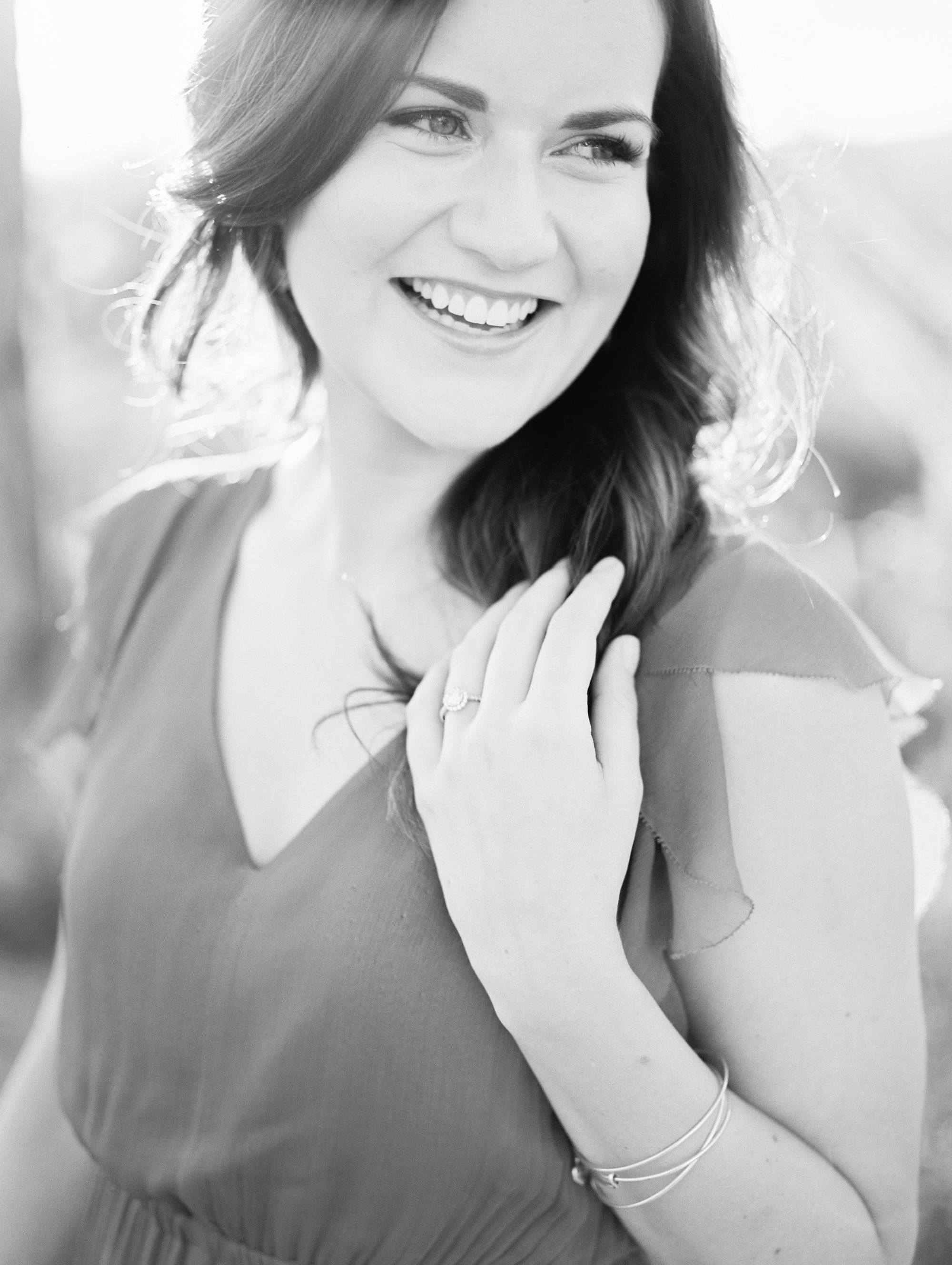 Gorgeous black and white portrait of this smiling bride to be