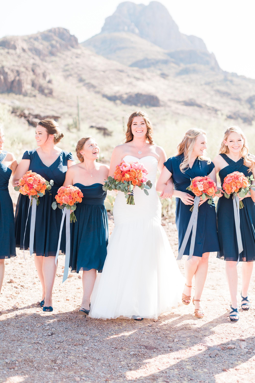 Bridesmaids and bride walking. Gorgeous Tucson Wedding at Stardance.