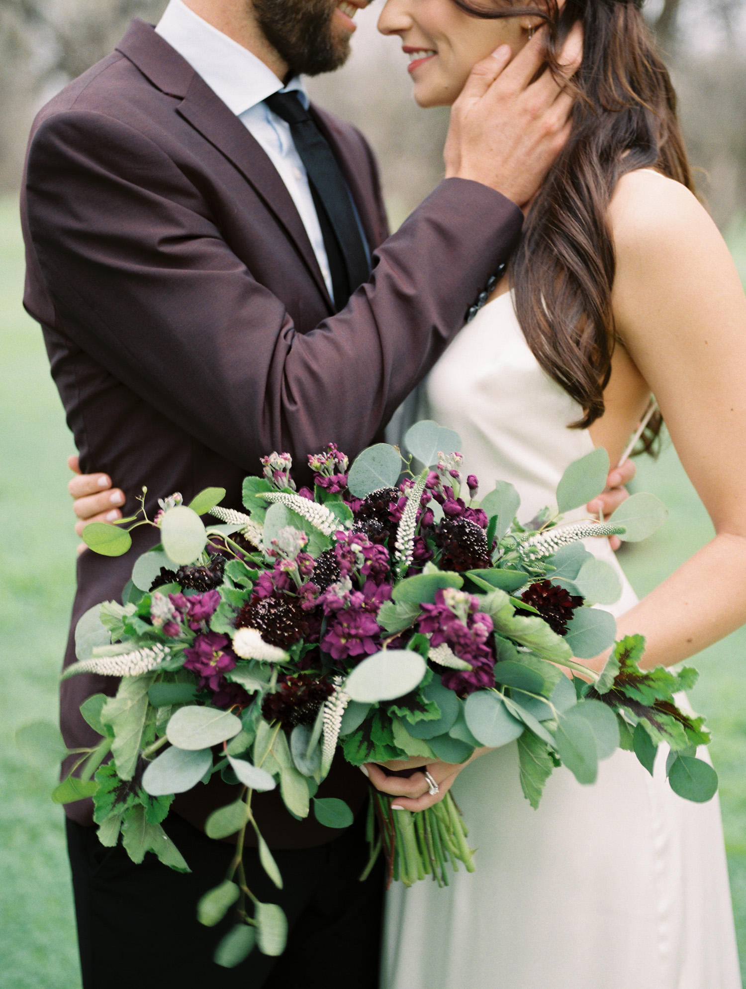 Stunning purple and white bouquet with tons of greenery by Butterfly Petals!