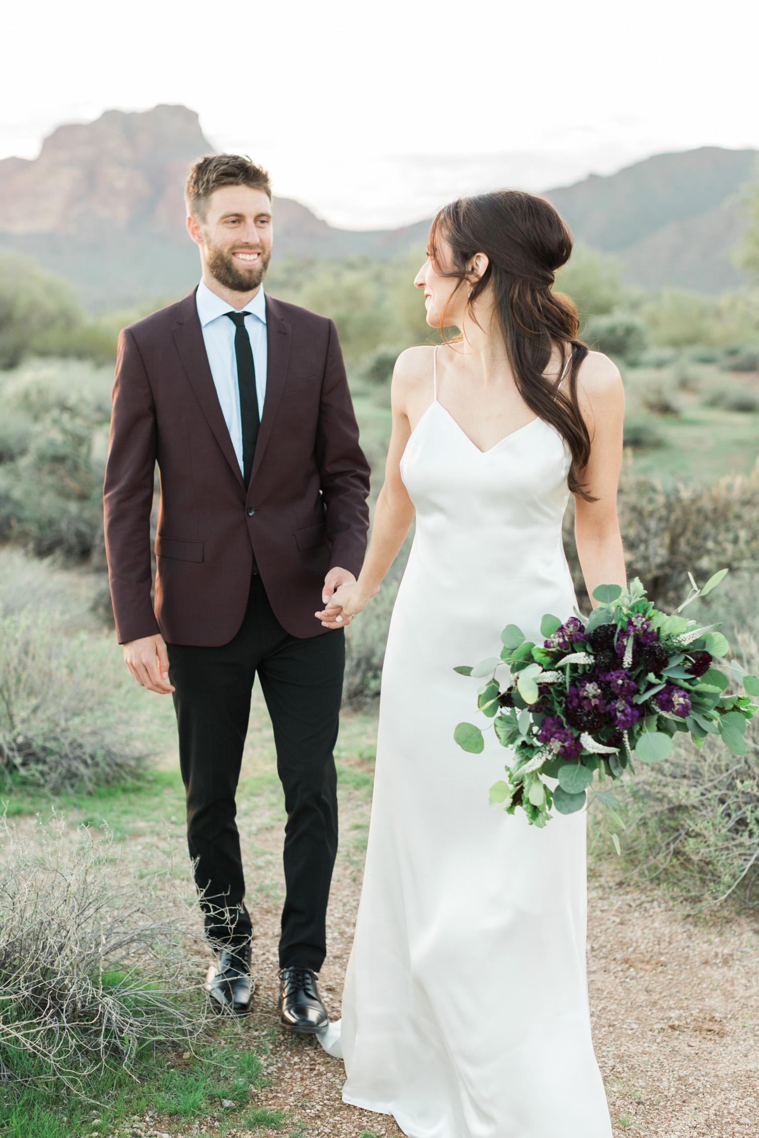 Phoenix elopement, bride and groom session near the Salt River in Phoenix, Arizona.