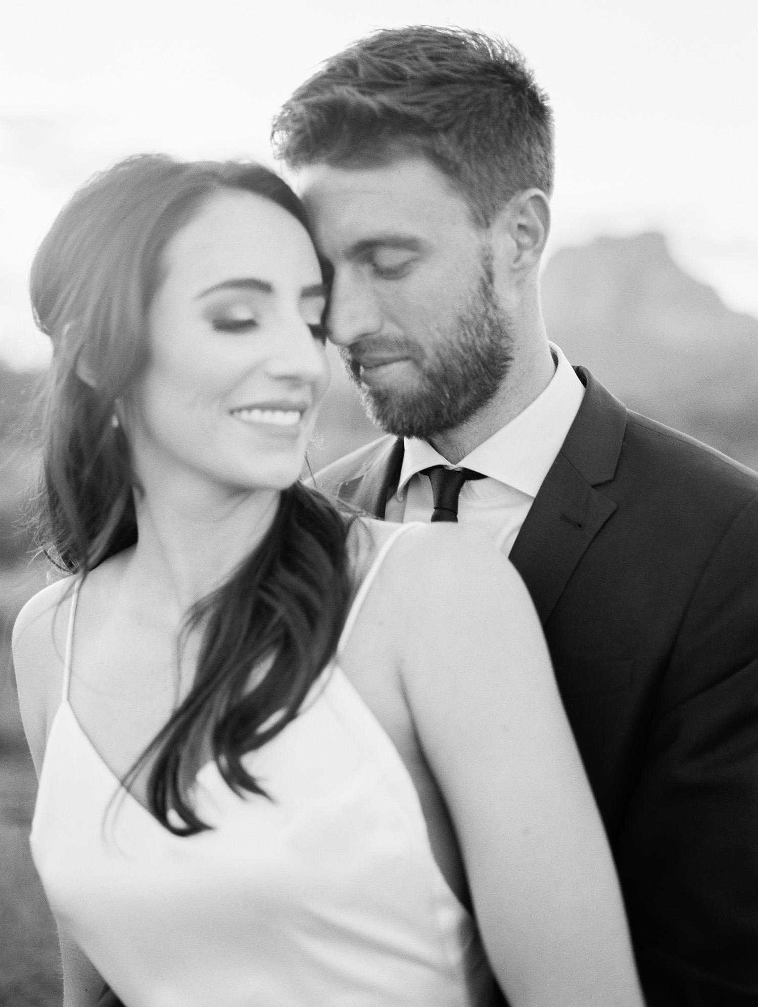 A romantic moment on their wedding day in Phoenix, Arizona.