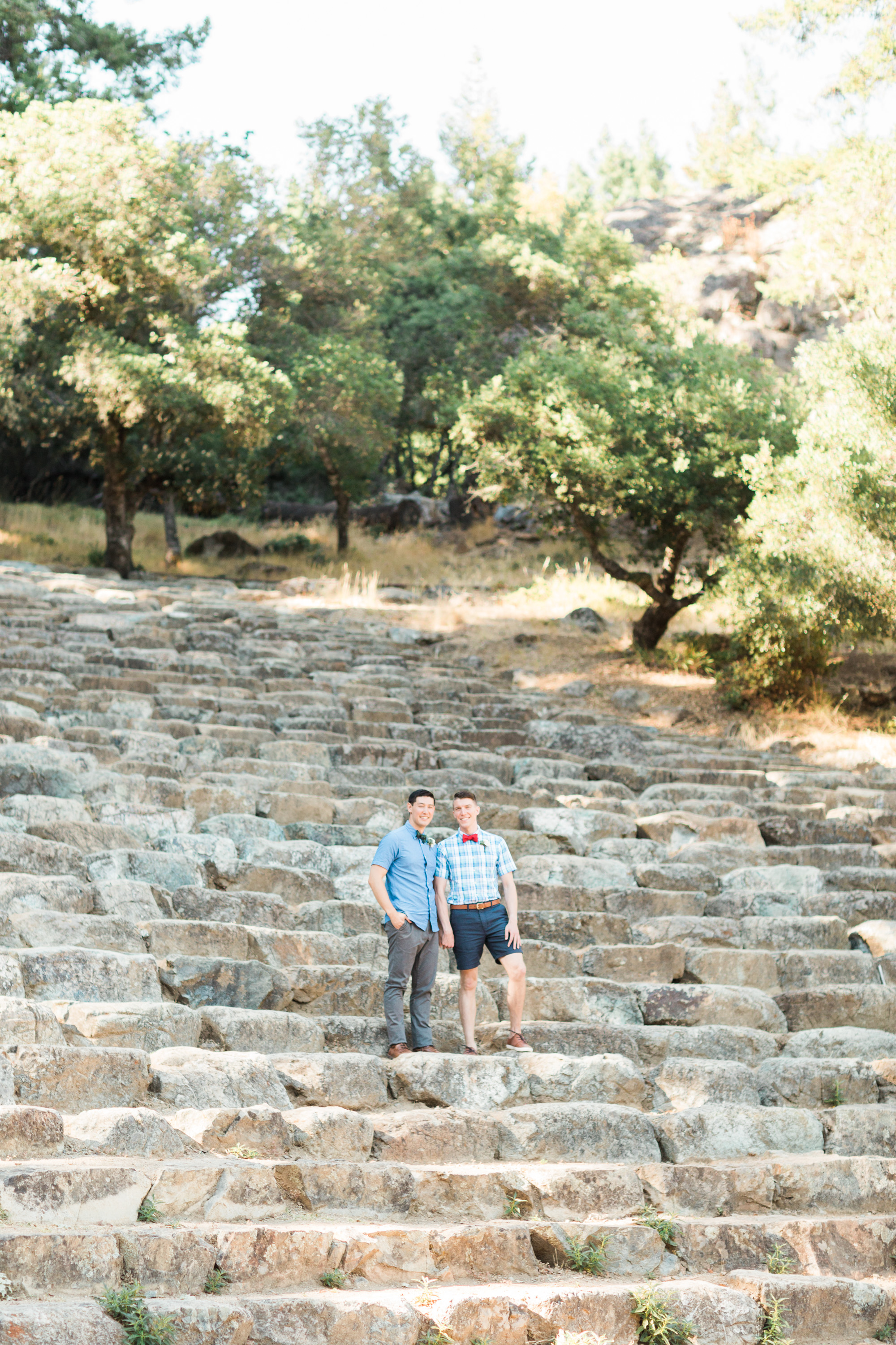 Two handsome grooms on their wedding day at the Mount Tamalpais amphitheater