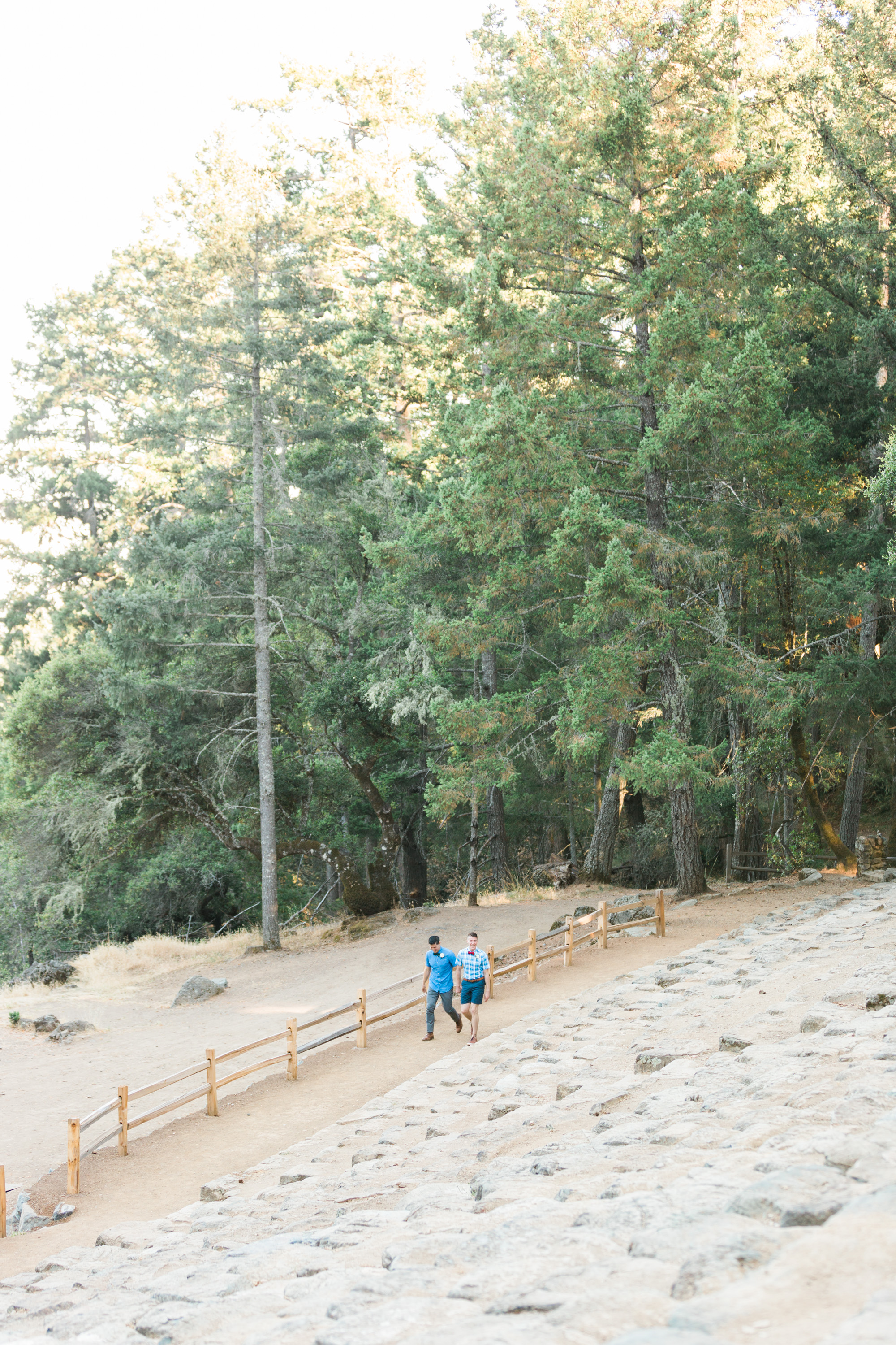 Walking into their wedding ceremony at the gorgeous stone amphitheater on Mount Tamalpais
