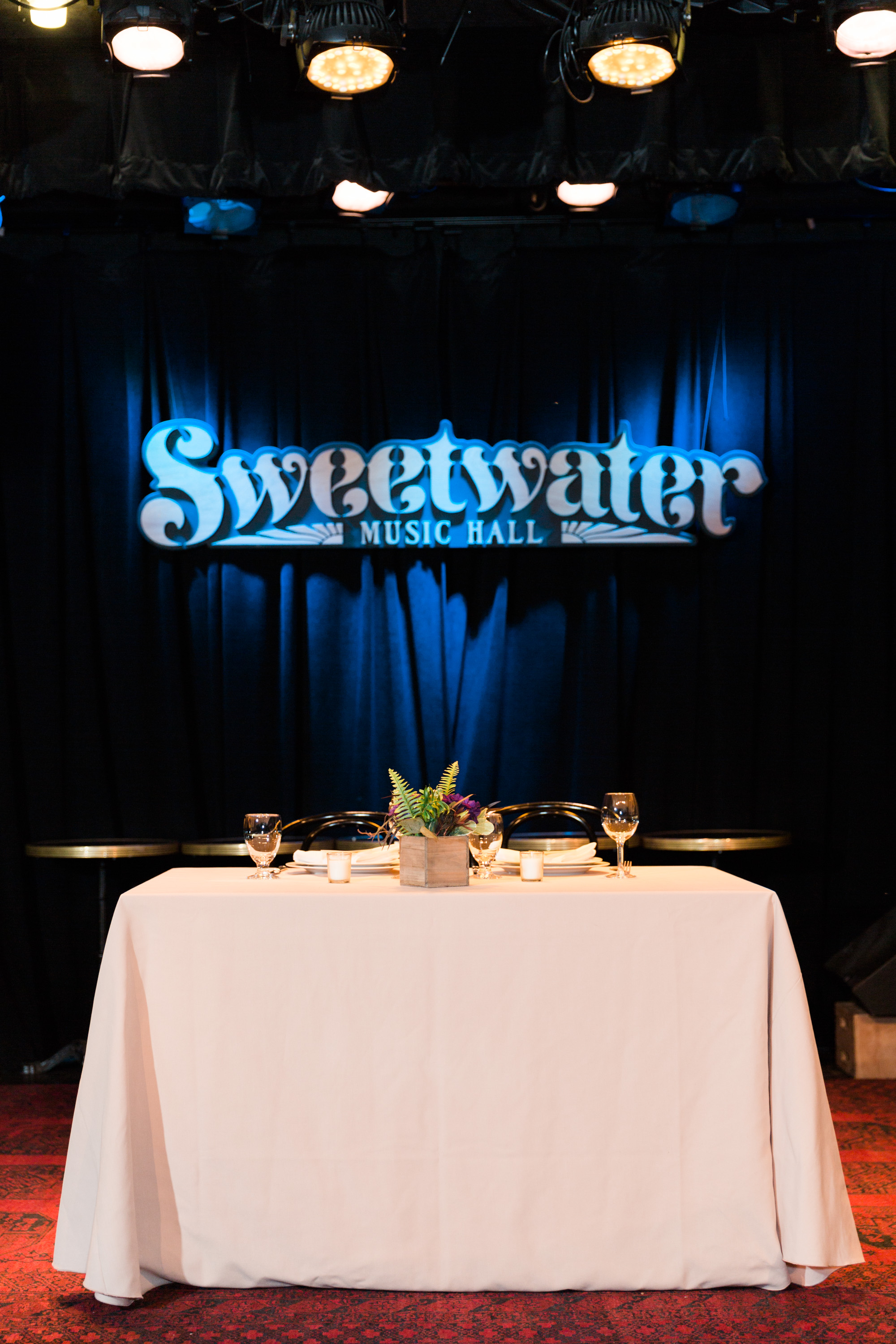 Jazzy, travel themed reception held at the Sweetwater Music Hall in Mill Valley