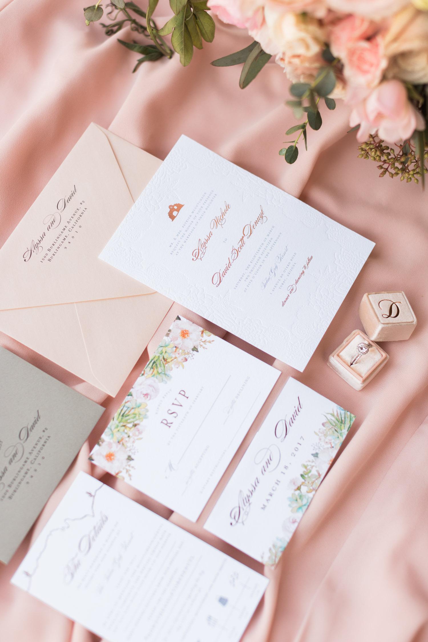 Stunning desert wedding invitations designed by Brie Dumais Designs