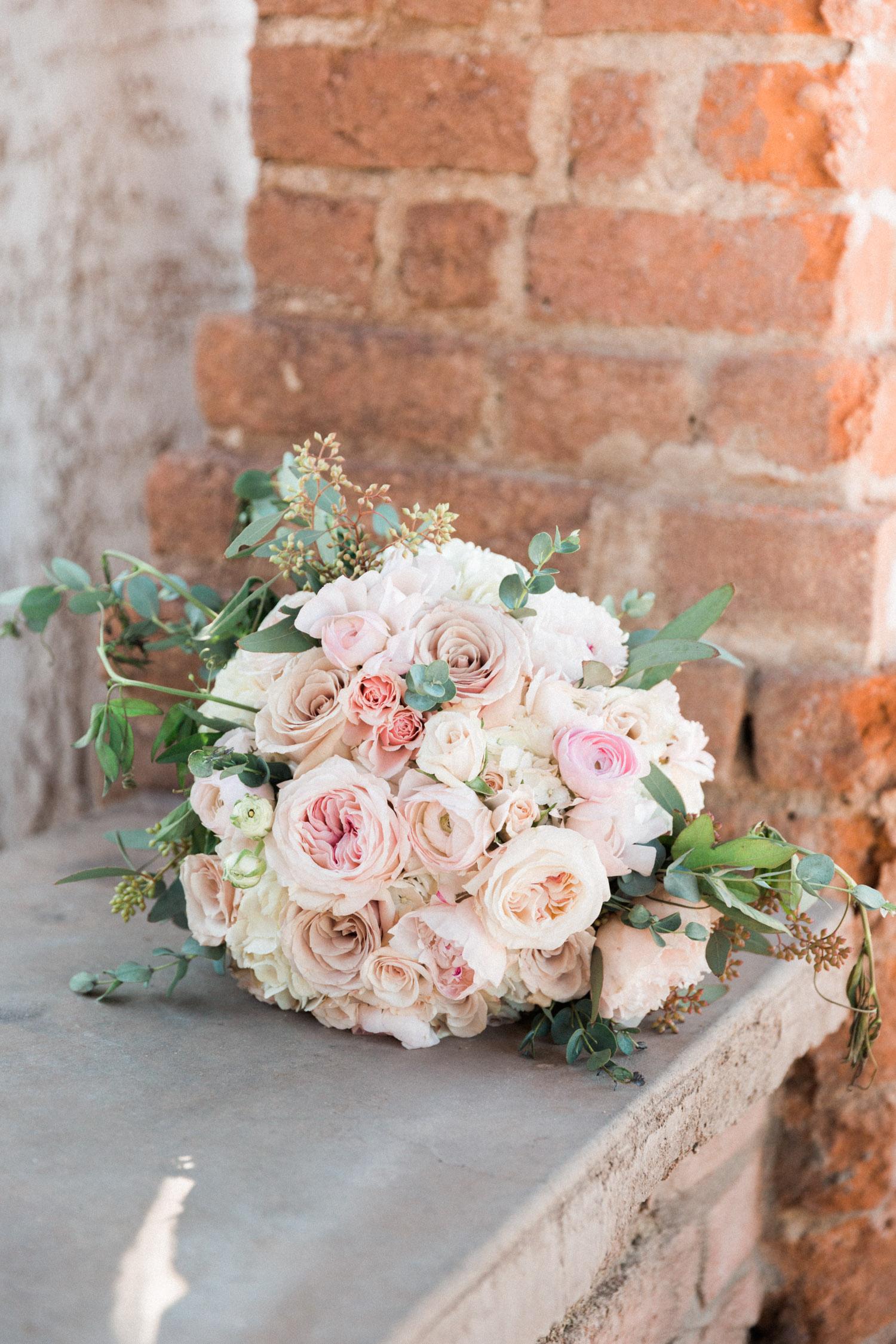 Beautiful blush bridal bouquet by Posh Petals based out of Tucson | Betsy & John Photography | Tucson Wedding Photographers