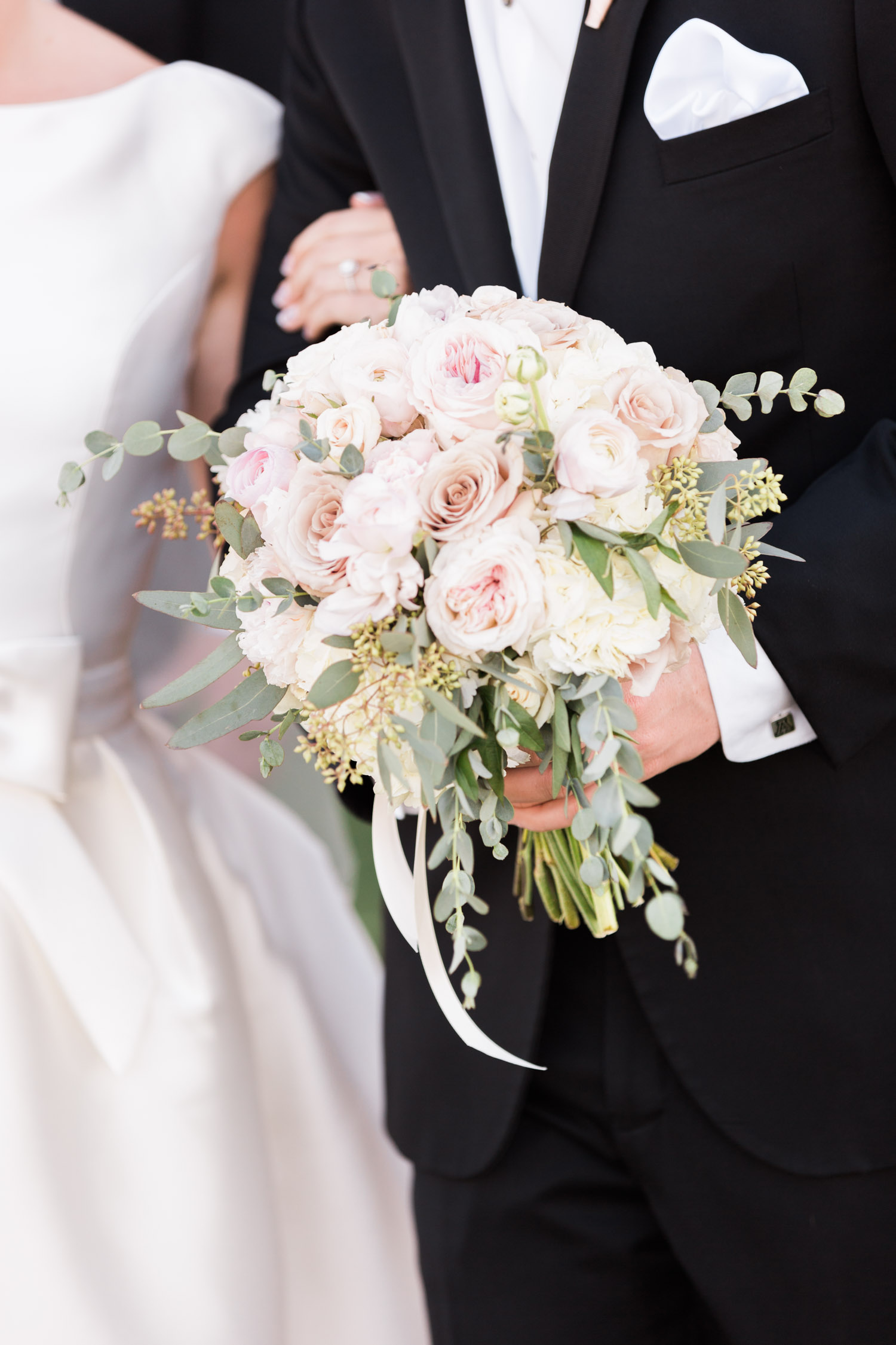 Beautiful blush and white bridal bouquet by Posh Petals