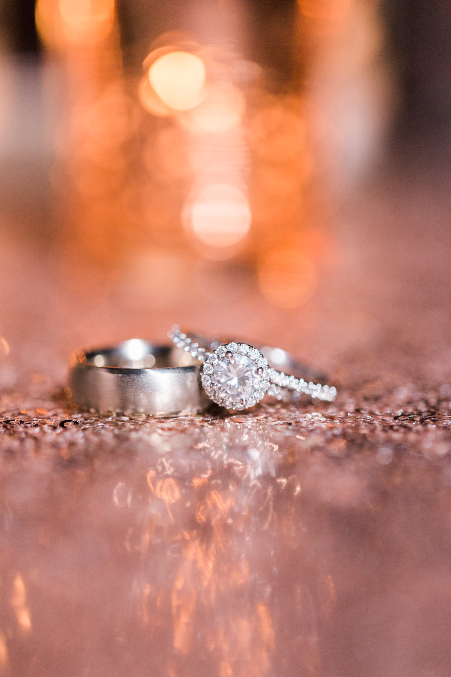 Blush ring shot on sequin background