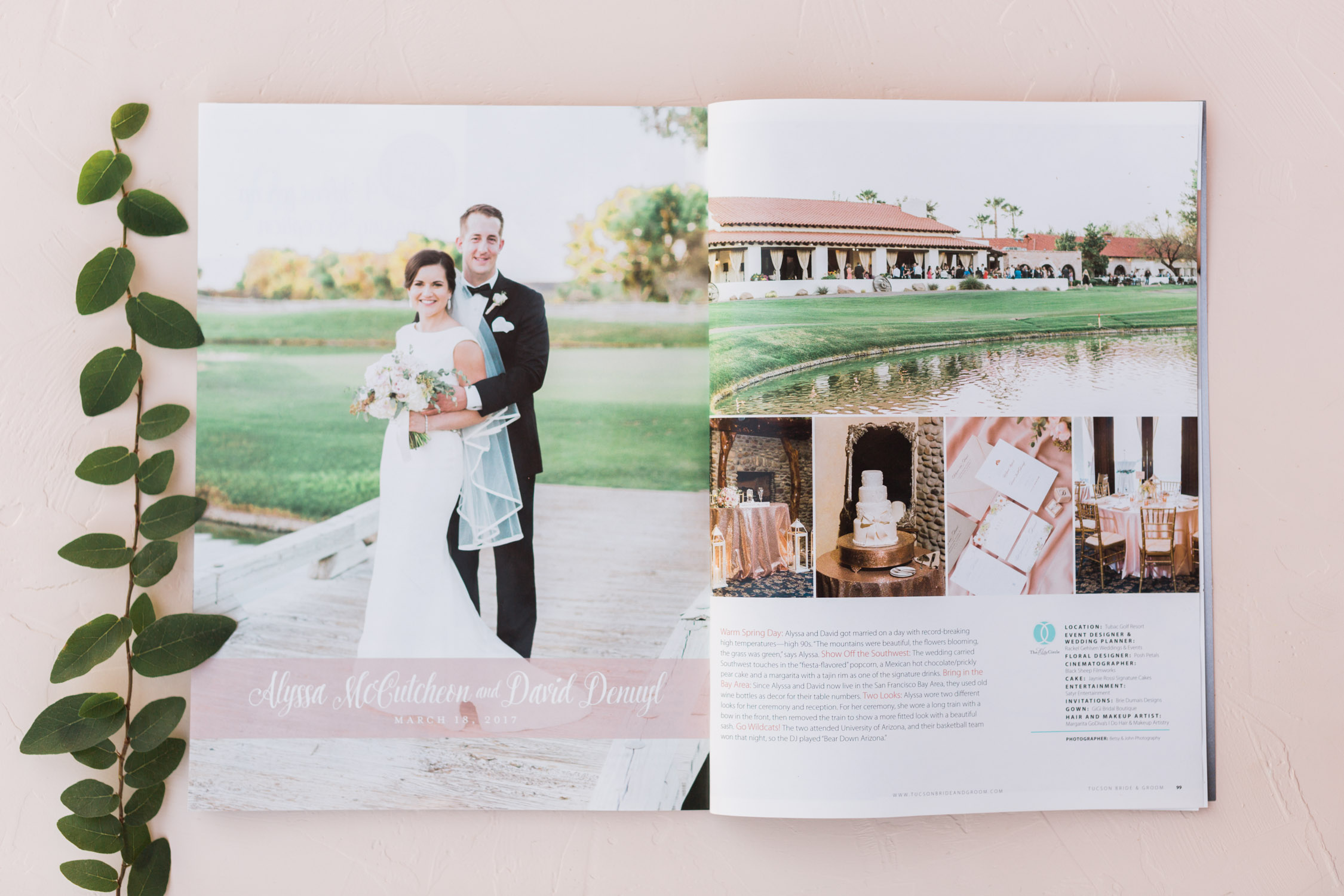 Alyssa & Dave's gorgeous Tubac Golf Resort wedding featured in Tucson Bride & Groom! Captured by Tucson wedding Photographers Betsy & John