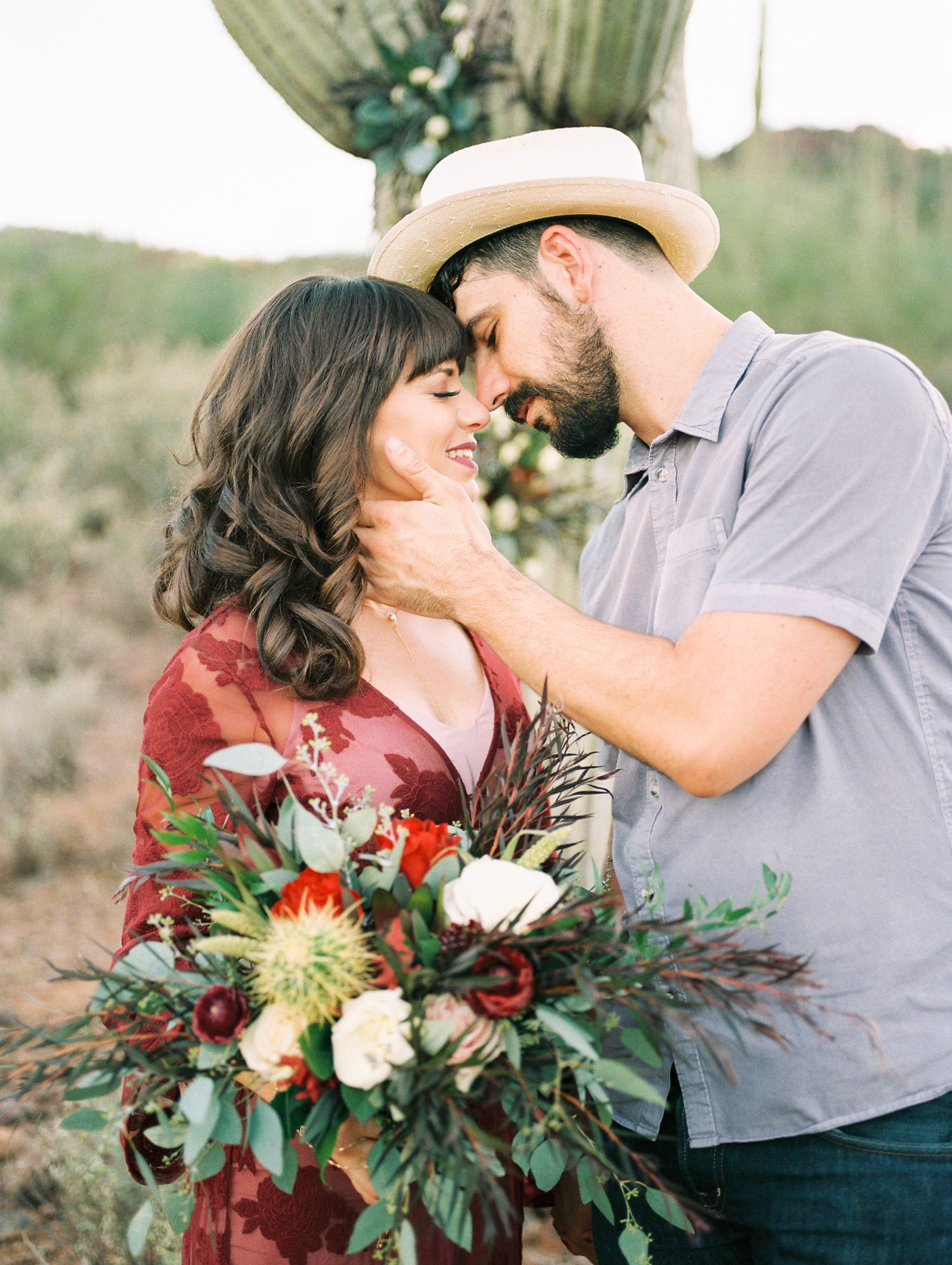 Super cute hipster couple about to kiss