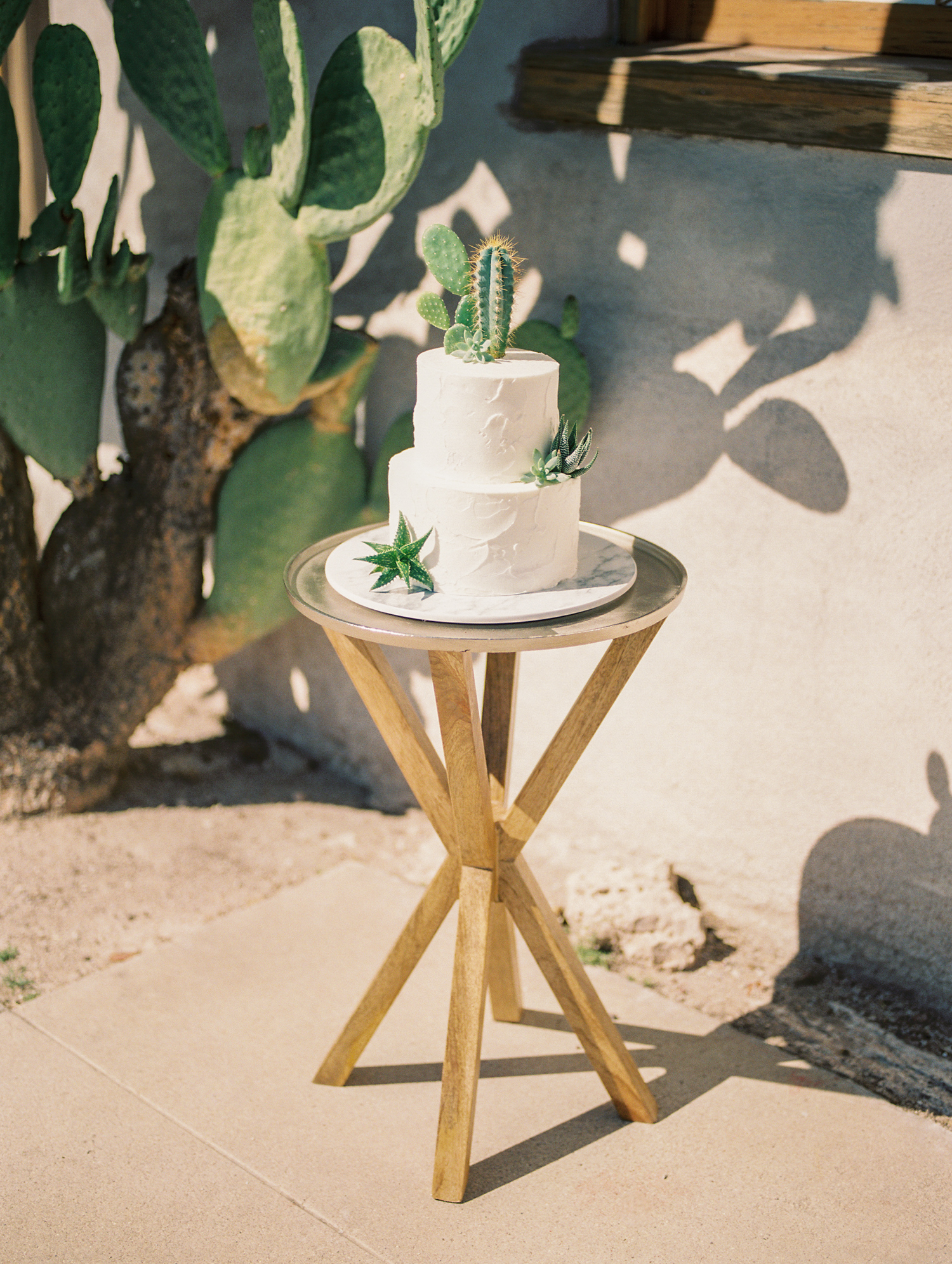 Beautiful white wedding cake by Crumbs cake Boutique with a real cactus and succulent cake topper!