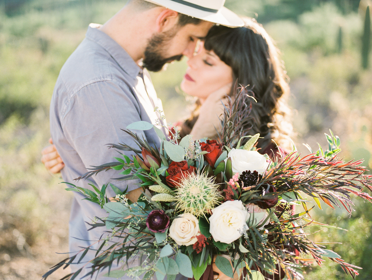Fall bridal bouquet with cactus, roses & greenery