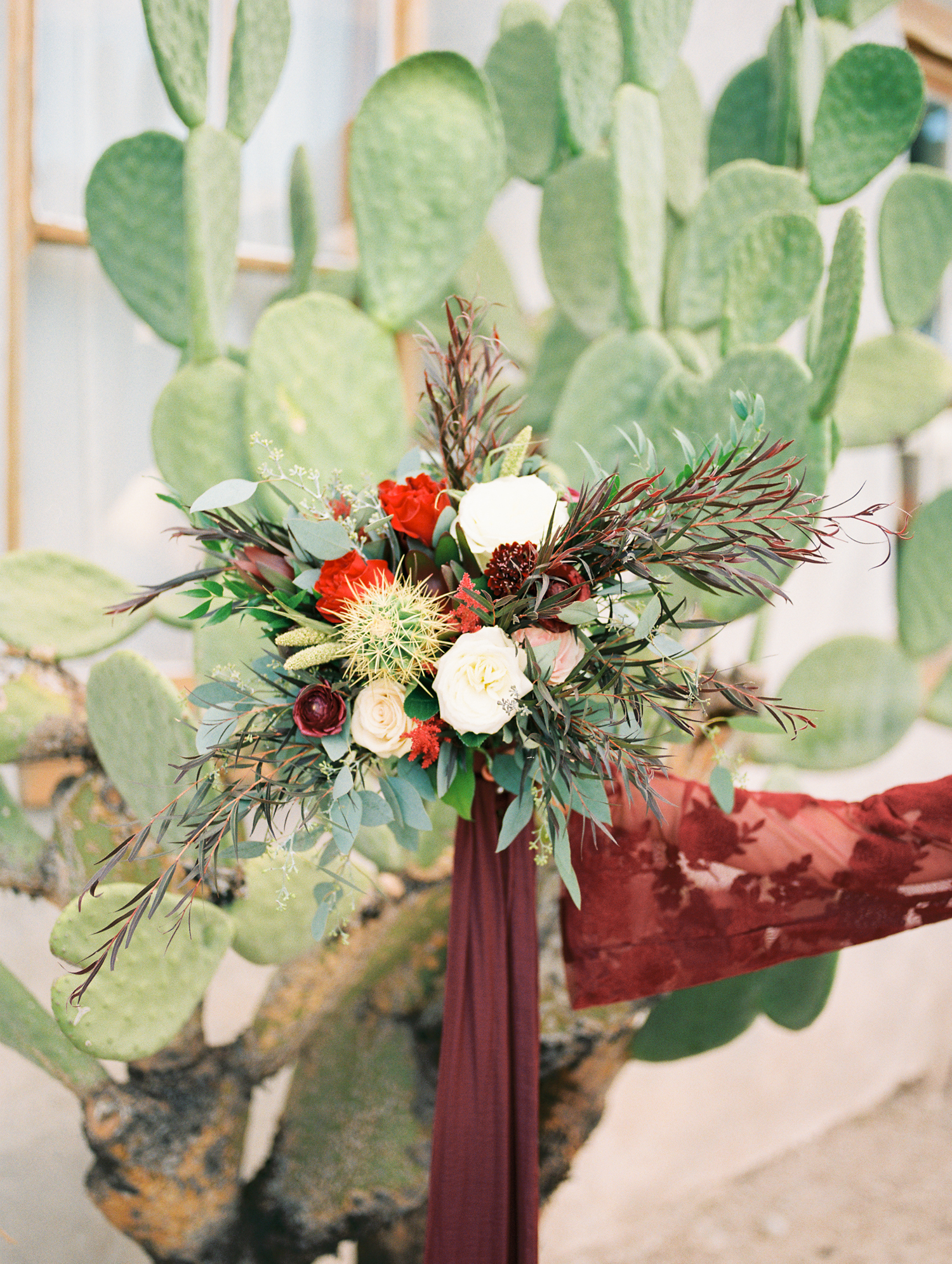 Bride holding up bouquet with bright green cactus in the background