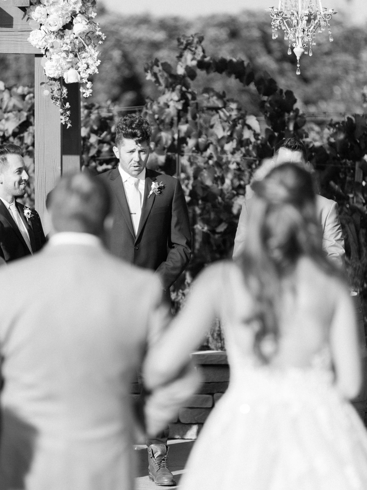 Father walking daughter down the aisle  Harrison & Jocelyne's gorgeous Temecula wedding at Wiens Family Cellars captured by Betsy & John   Temecula Wedding Photographers