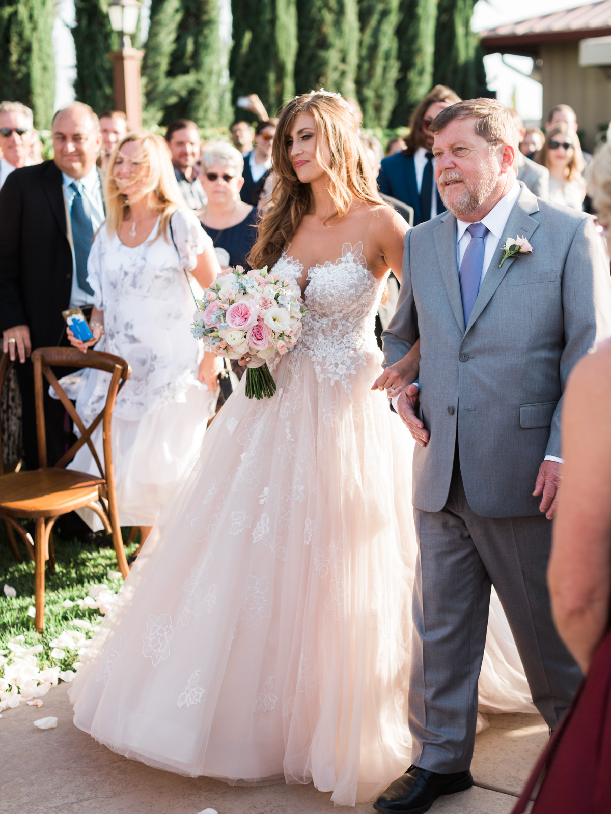 Father walking daughter down the aisle |Harrison & Jocelyne's gorgeous Temecula wedding at Wiens Family Cellars captured by Betsy & John | Temecula Wedding Photographers