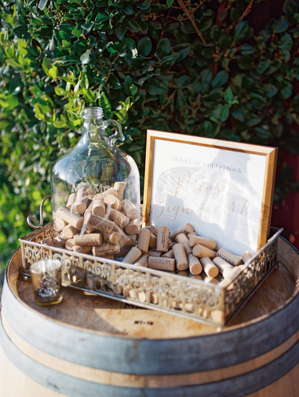 Wine Cork Guest book | Harrison & Jocelyne's gorgeous Temecula wedding day at Wiens Family Cellars captured by Temecula wedding photographers Betsy & John