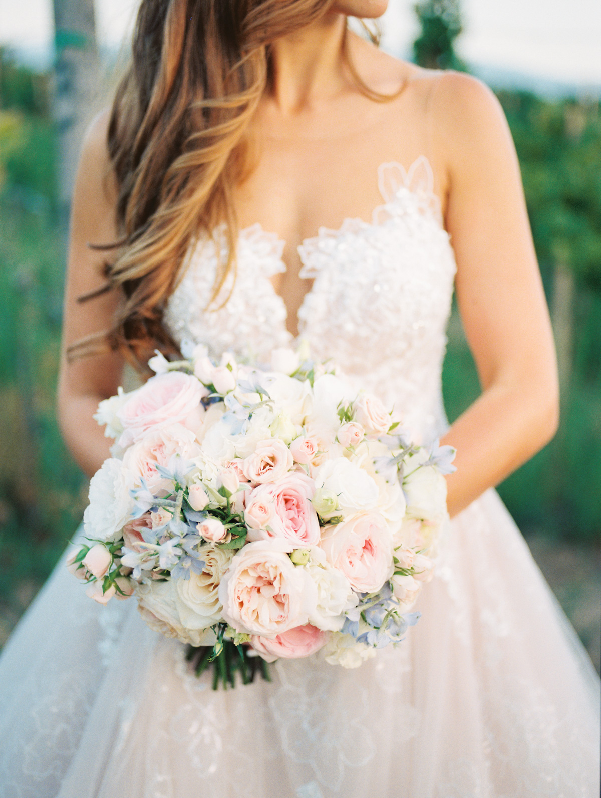 Gorgeous bridal bouquet by Soiree Design & Events |Harrison & Jocelyne's gorgeous Temecula wedding day at Wiens Family Cellars captured by Temecula wedding photographers Betsy & John