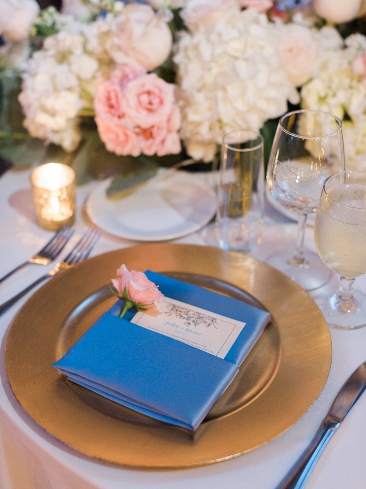 Blue and blush sweetheart table |Harrison & Jocelyne's gorgeous Temecula wedding day at Wiens Family Cellars captured by Temecula wedding photographers Betsy & John