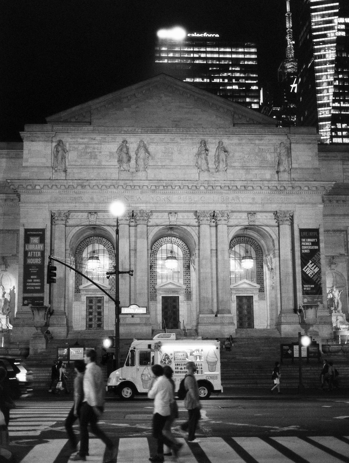 New York City Night photography. Ice cream truck on film.