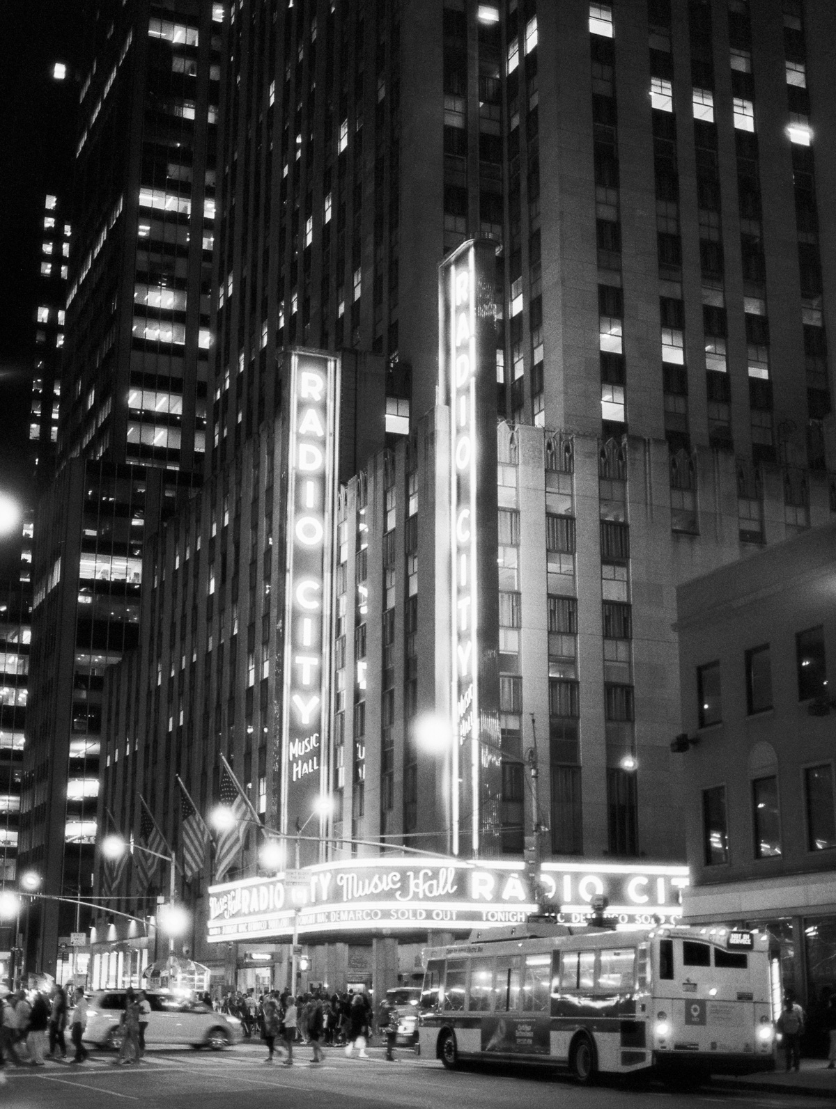 Radio City Music Hall in black and white film at night
